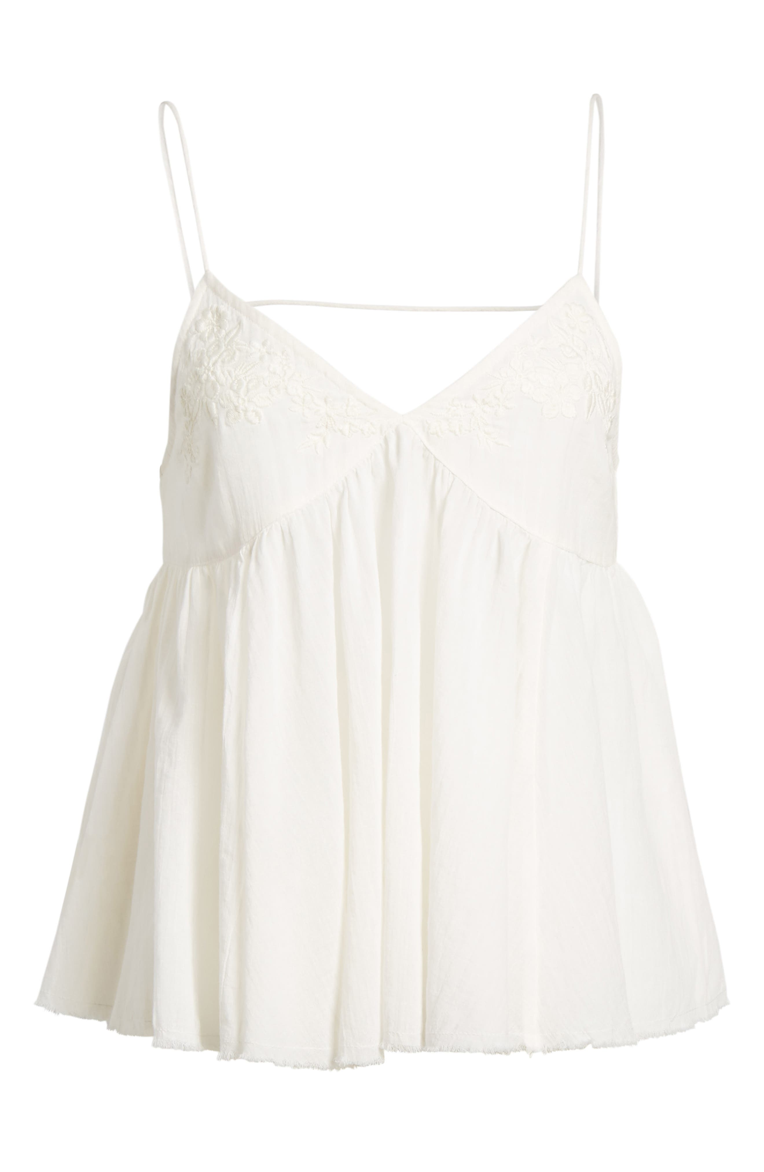 Embroidered Babydoll Tank,                             Alternate thumbnail 7, color,                             Ivory Egret