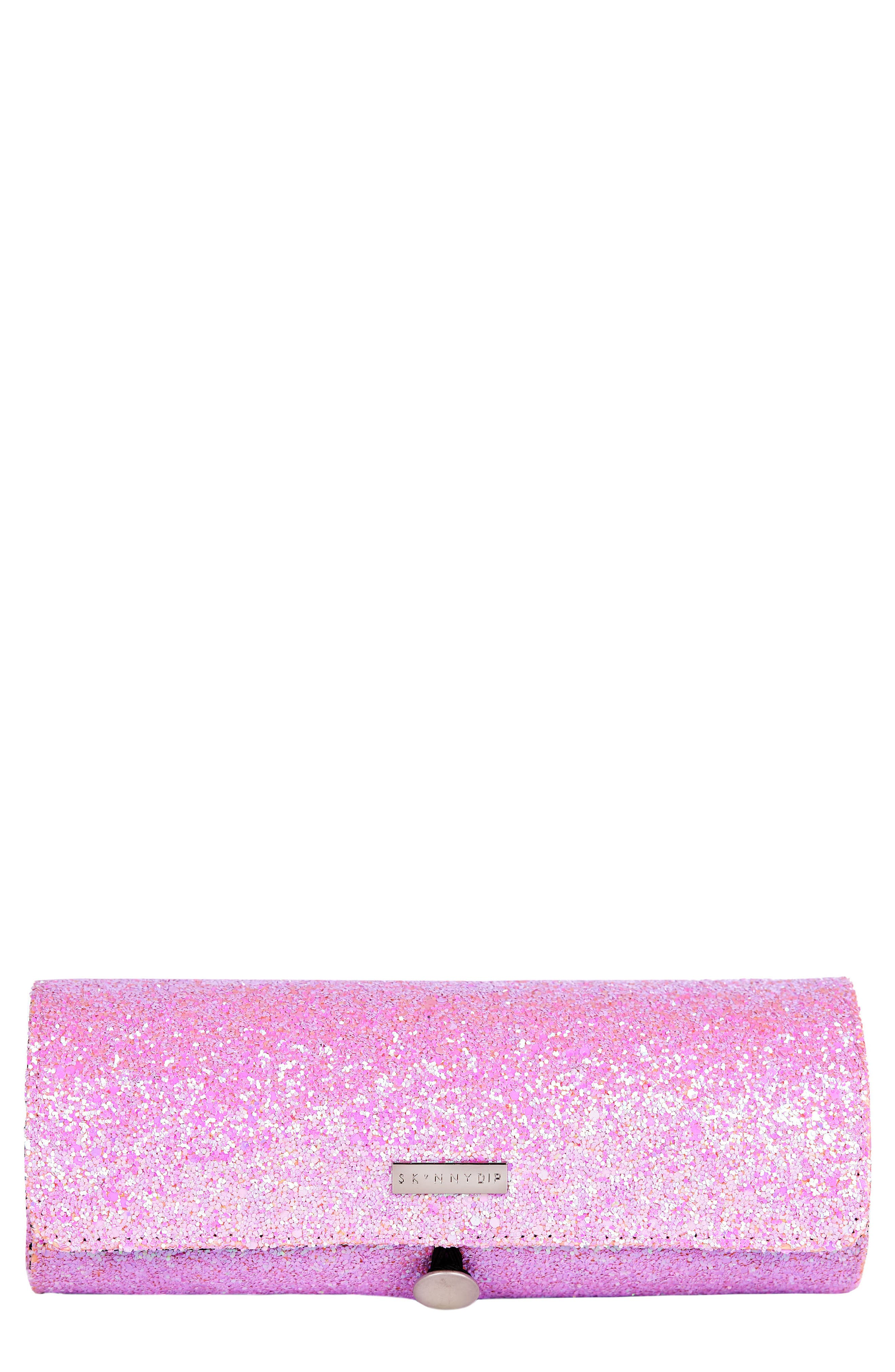 Skinny Dip Pink Glitsy Brush Roll,                         Main,                         color, No Color