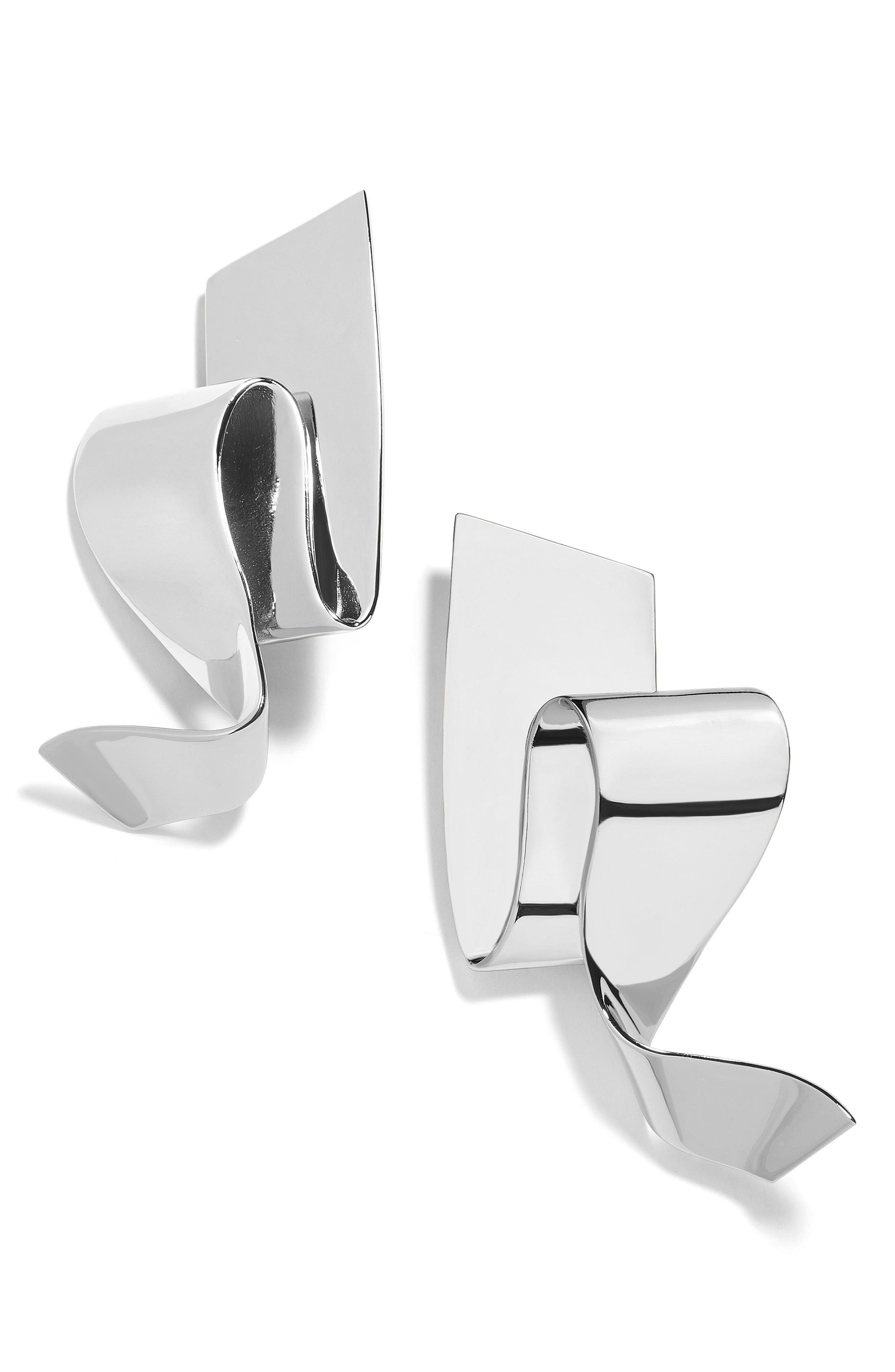 Nareh Metal Ribbon Drop Earrings,                             Main thumbnail 1, color,                             Silver