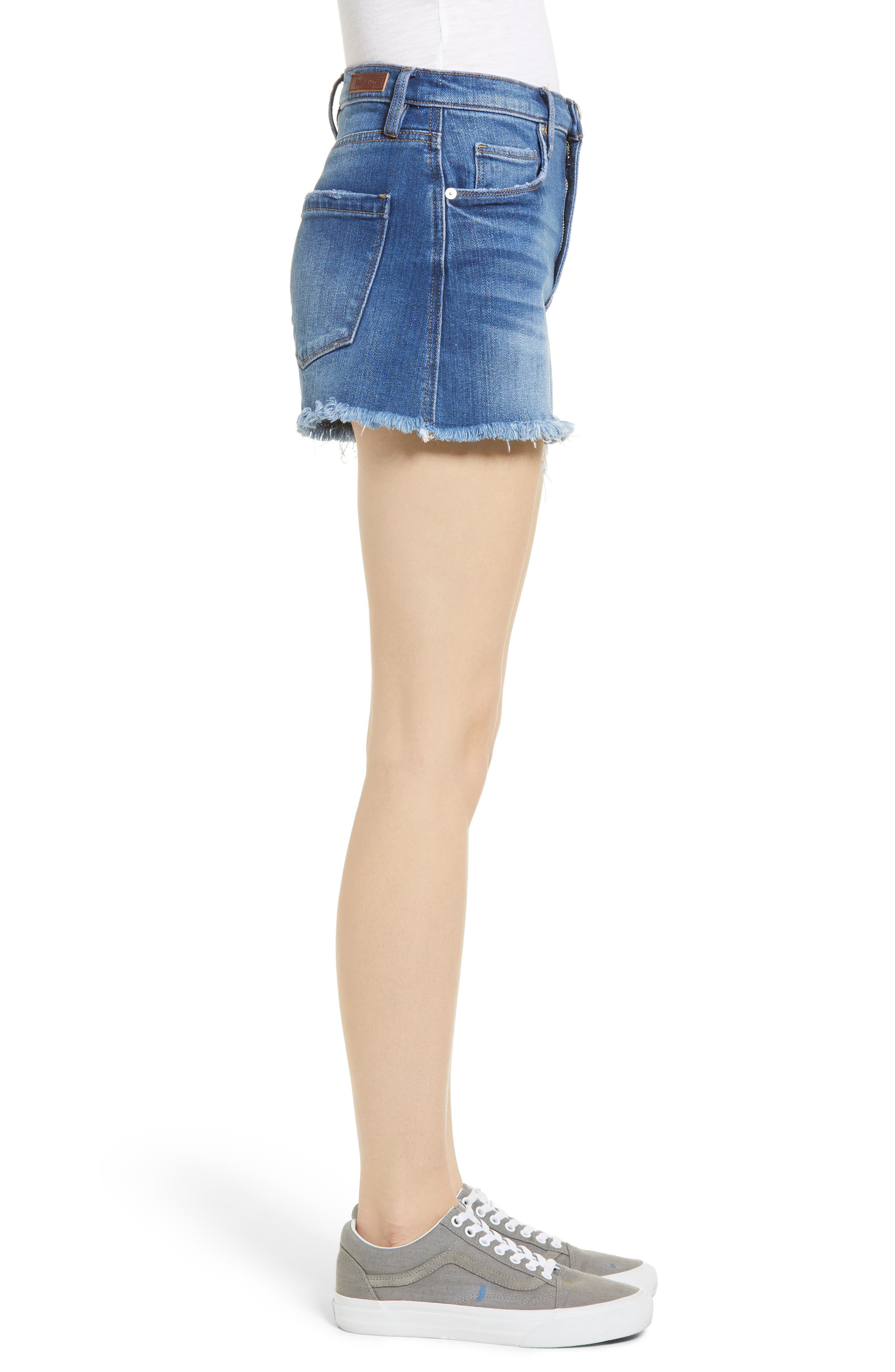 The Lenox High Waist Cutoff Denim Shorts,                             Alternate thumbnail 3, color,                             Low Key