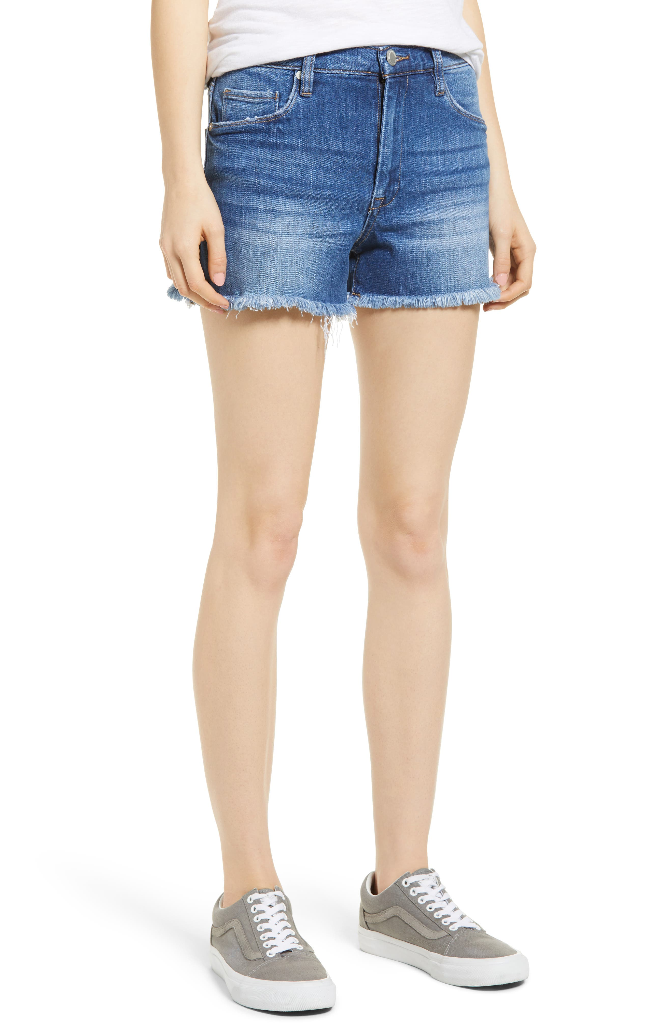The Lenox High Waist Cutoff Denim Shorts,                             Main thumbnail 1, color,                             Low Key