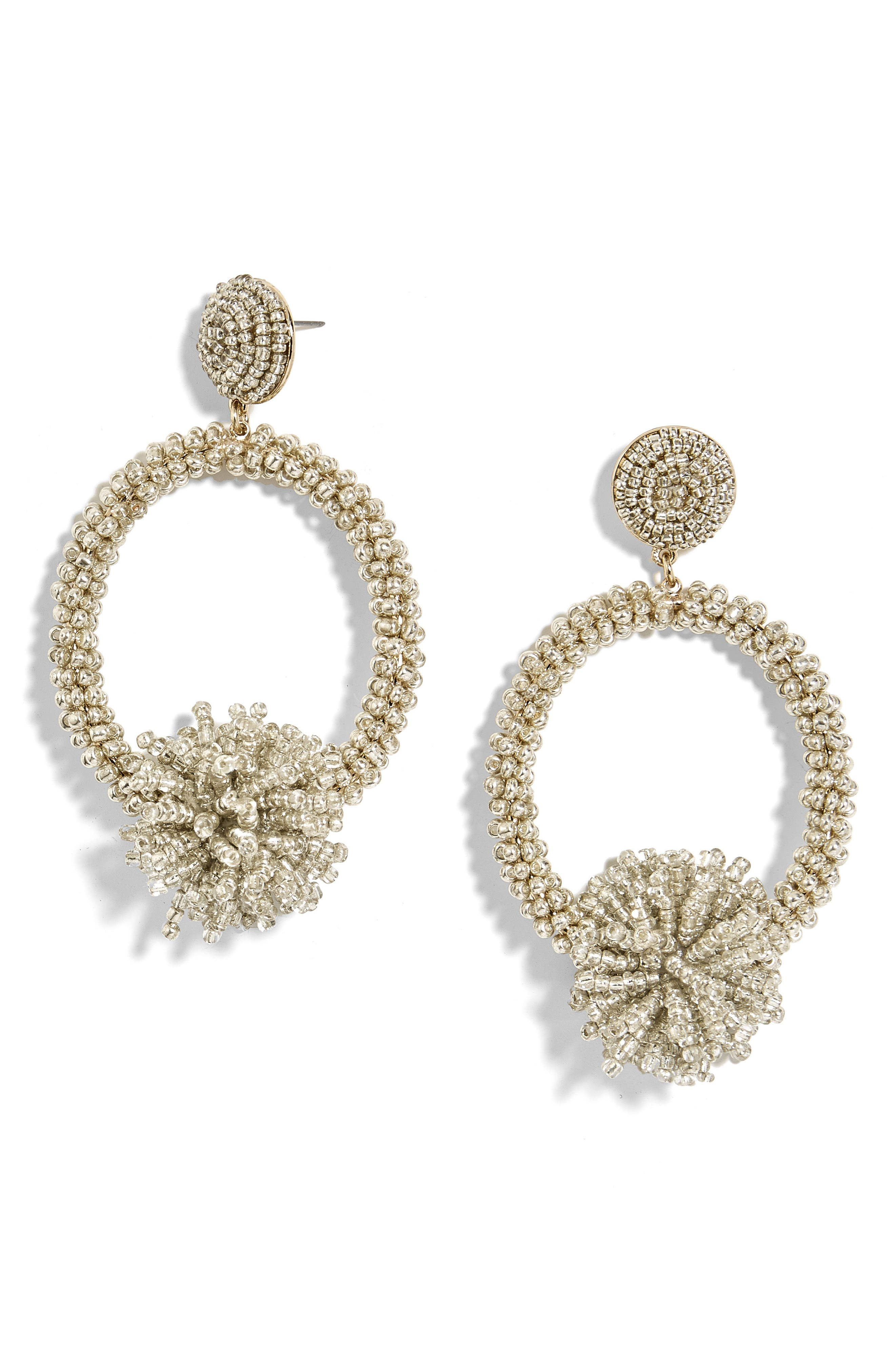 Ricarda Hoop Earrings,                             Main thumbnail 1, color,                             Silver
