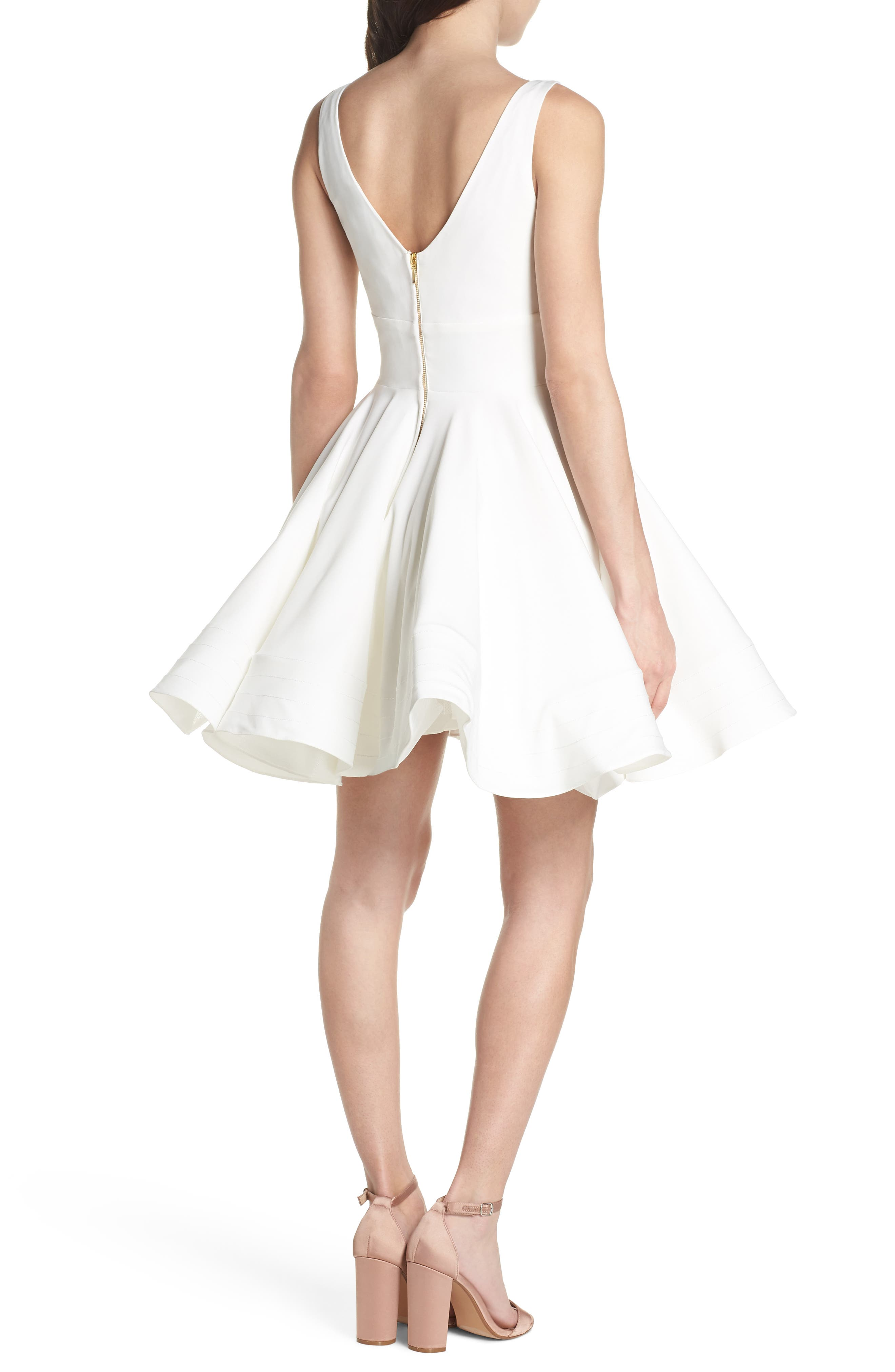 Double V-Neck Fit & Flare Party Dress,                             Alternate thumbnail 2, color,                             Ivory