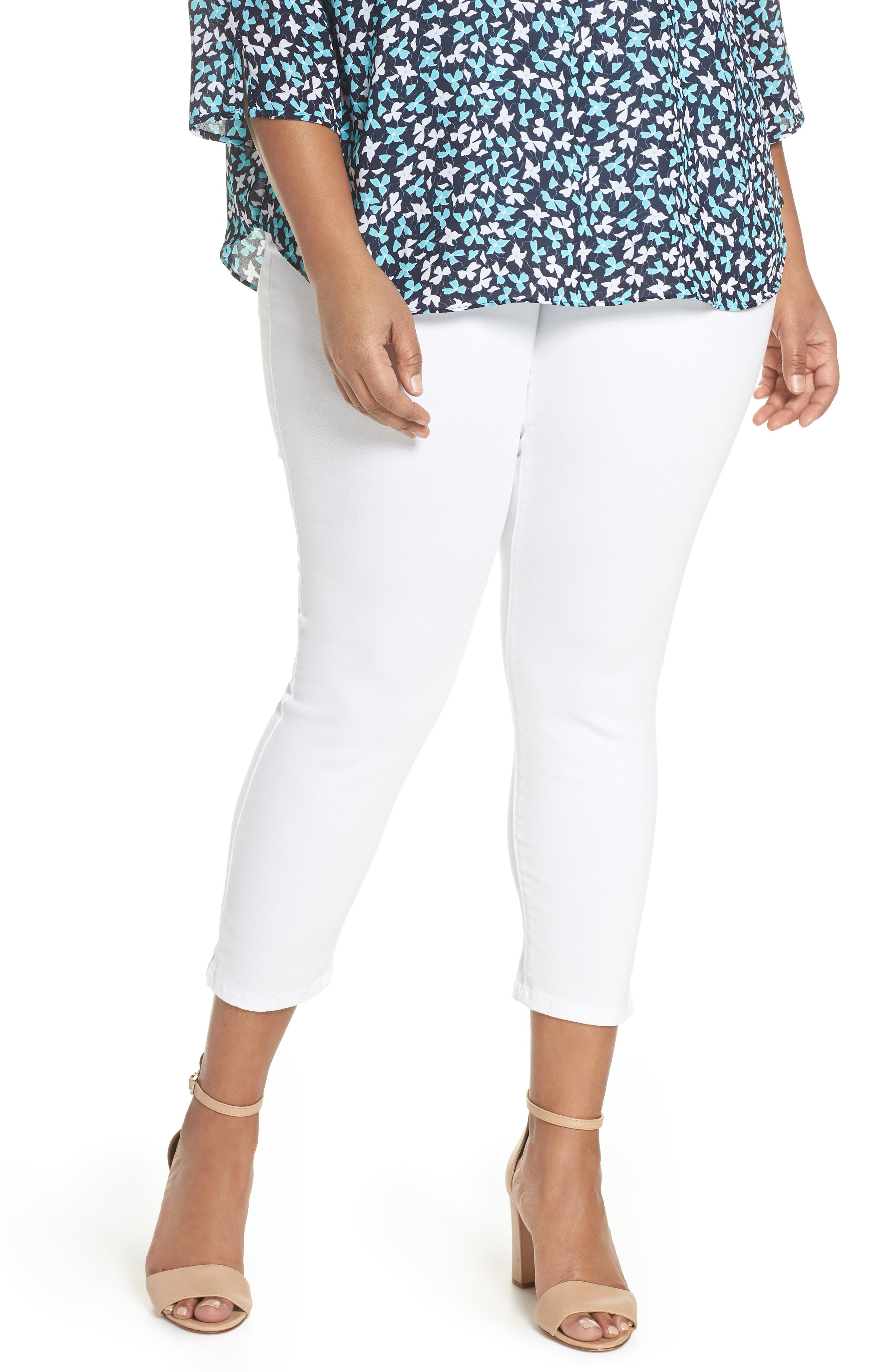 Alternate Image 1 Selected - NYDJ Alina Pull-On Ankle Skinny Jeans (Endless White) (Plus Size)