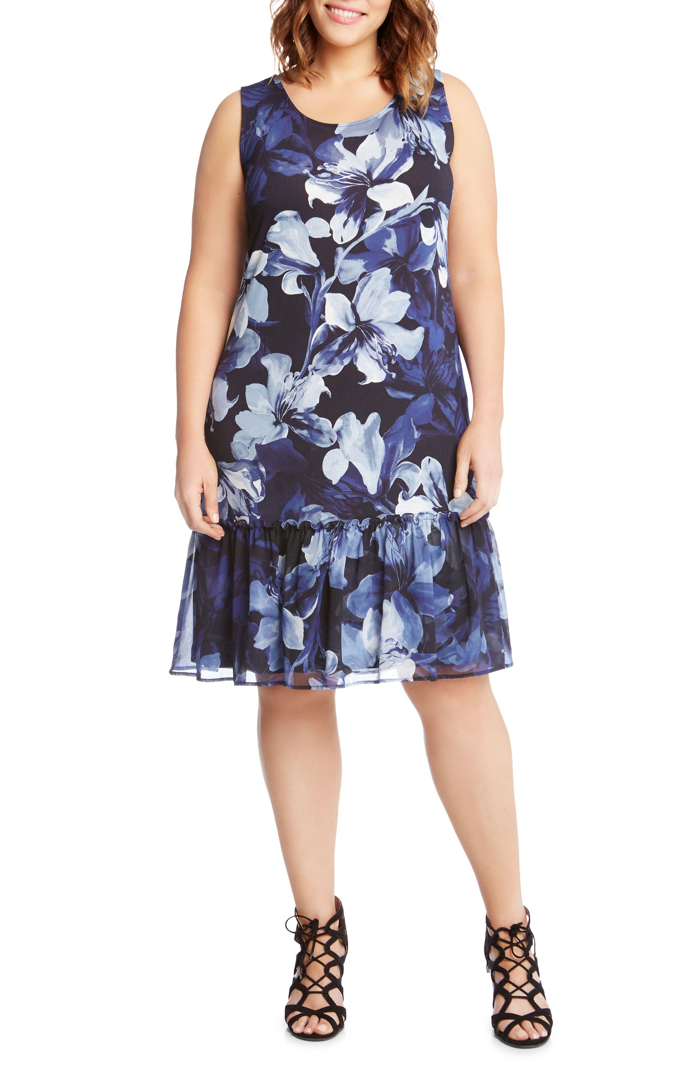 Main Image - Karen Kane Floral Ruffle Hem Georgette A-Line Dress (Plus Size)