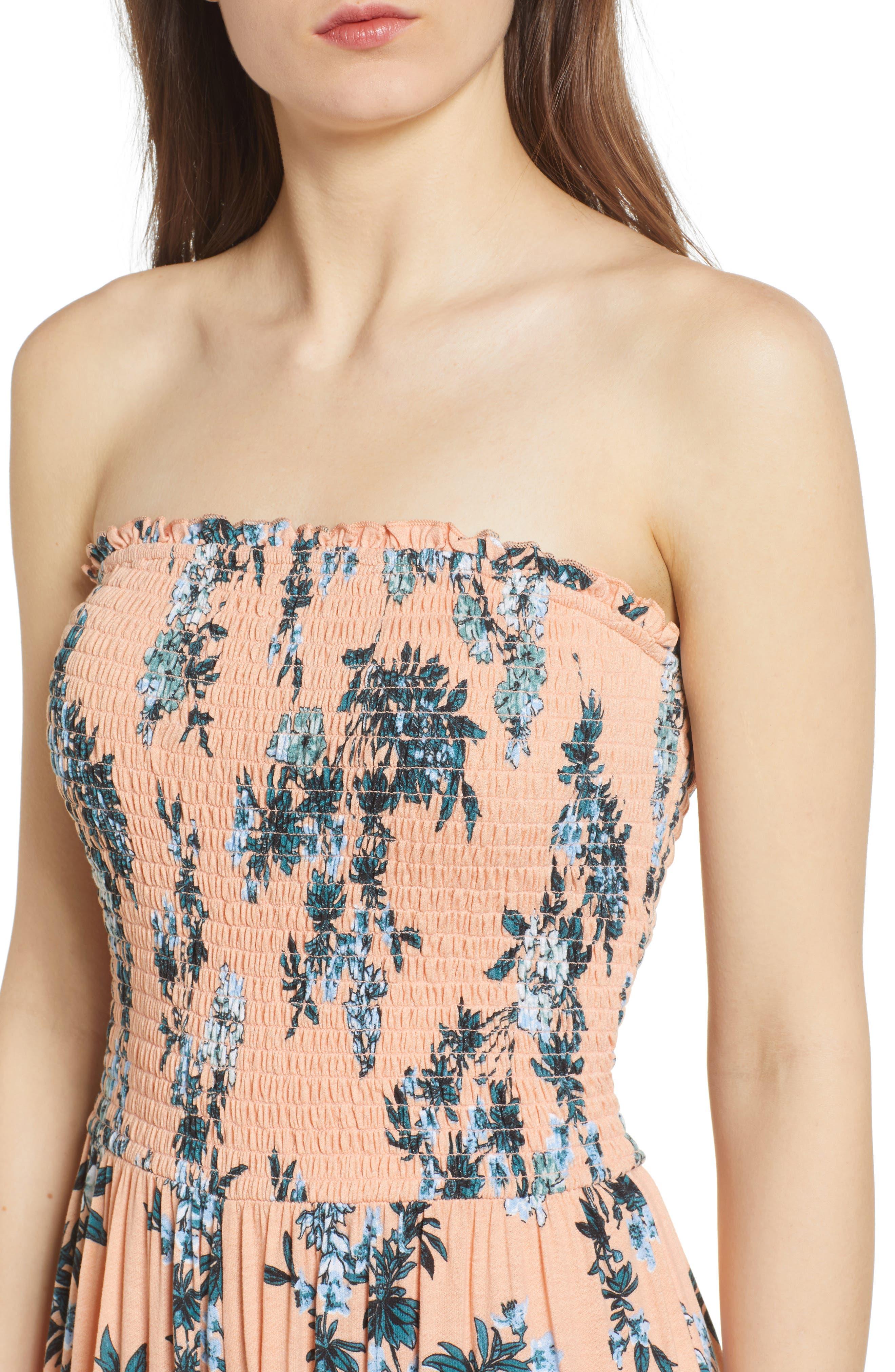 Smocked Ruffle Hem Jumpsuit,                             Alternate thumbnail 4, color,                             Pink Coho Fresh Blooms