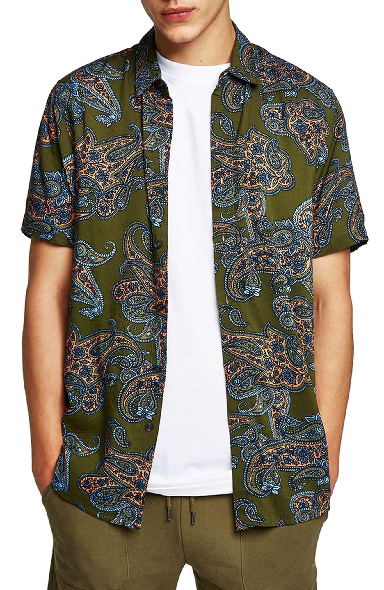 Paisley Print Shirt,                             Main thumbnail 1, color,                             Olive Multi