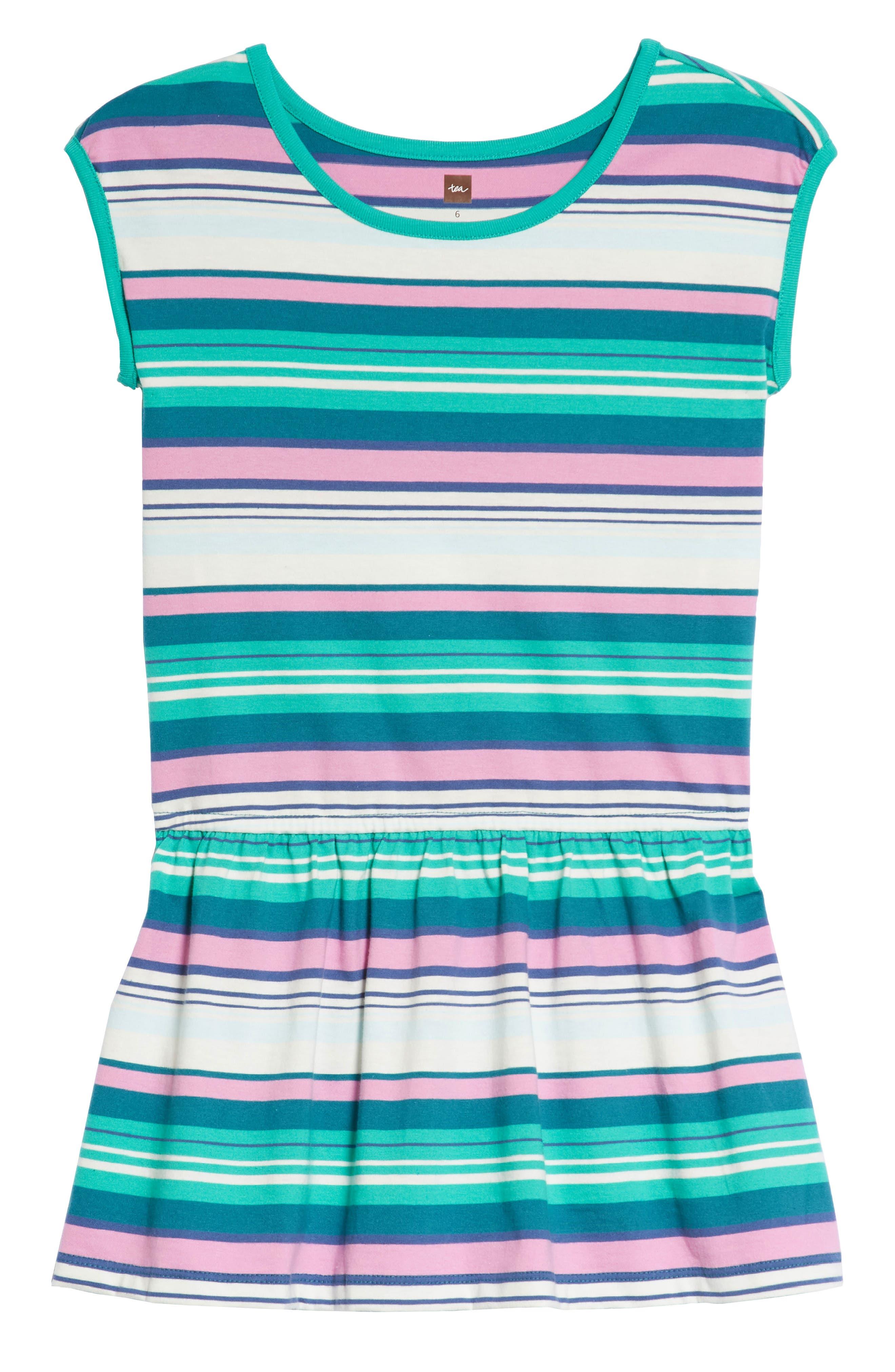 Vibrant Stripe Dress,                             Main thumbnail 1, color,                             Scuba