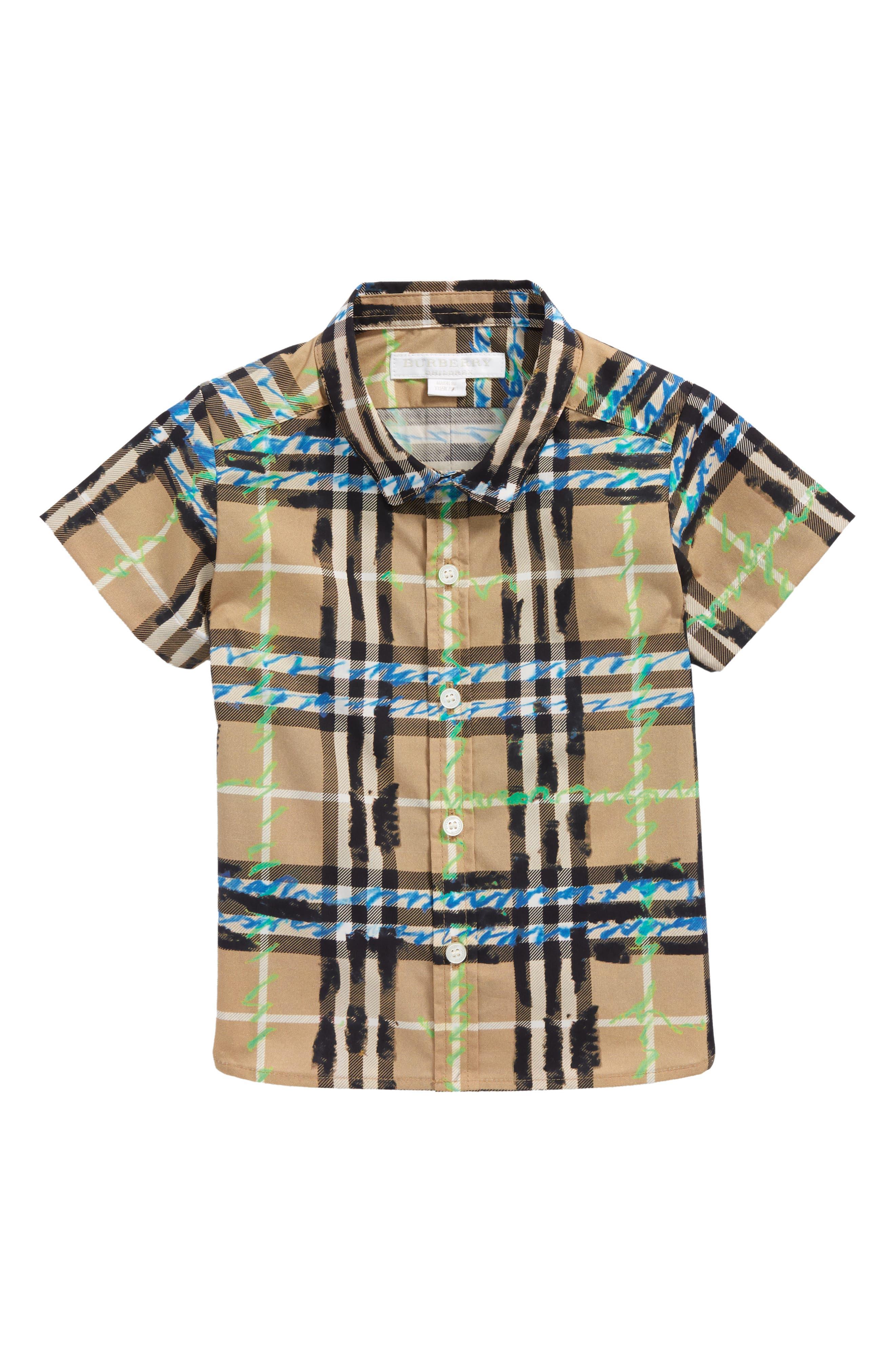 Clarkey Scribble Plaid Woven Shirt,                             Main thumbnail 1, color,                             Bright Blue