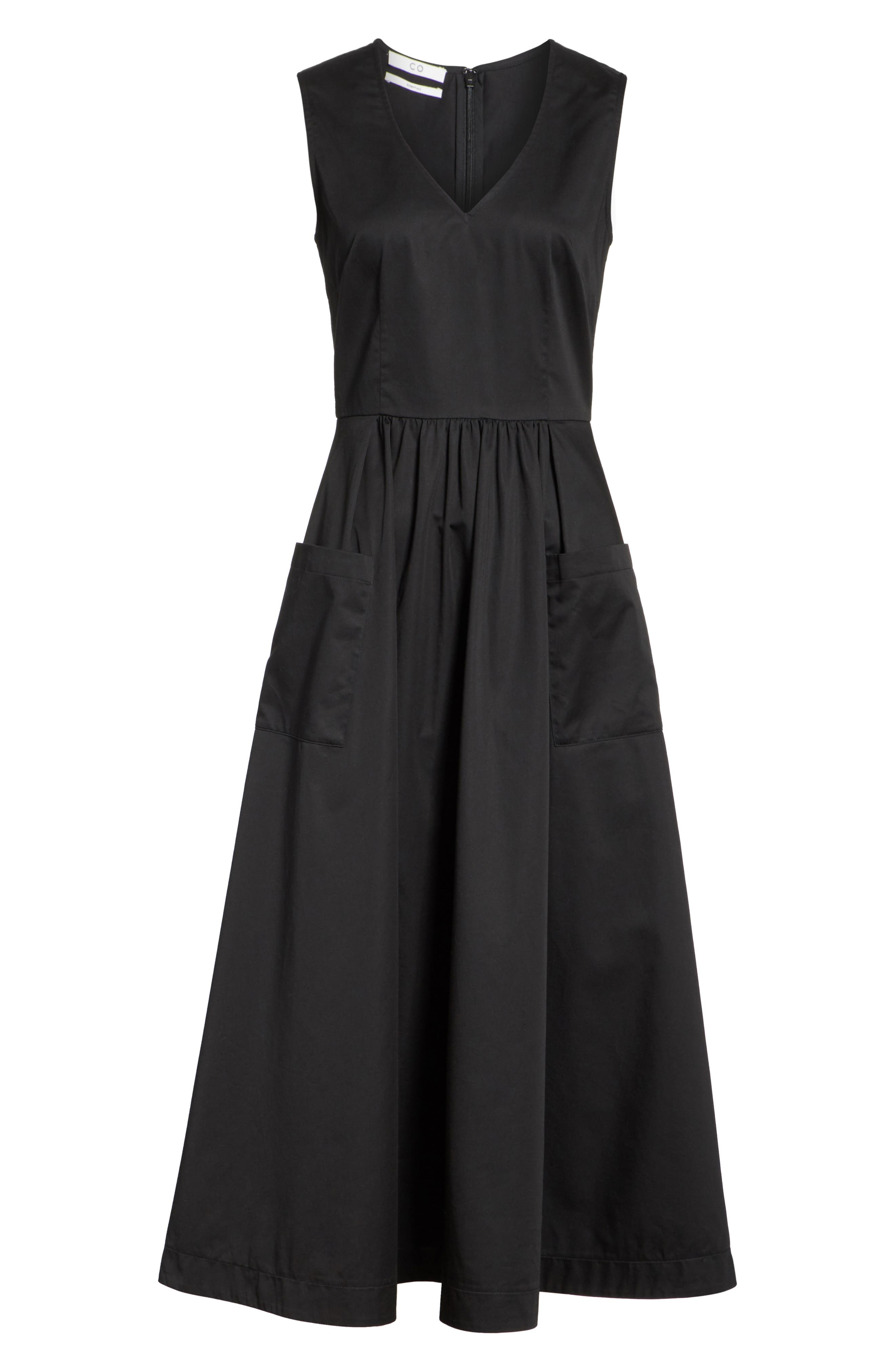 Patch Pocket Sateen Midi Dress,                             Alternate thumbnail 7, color,                             Black