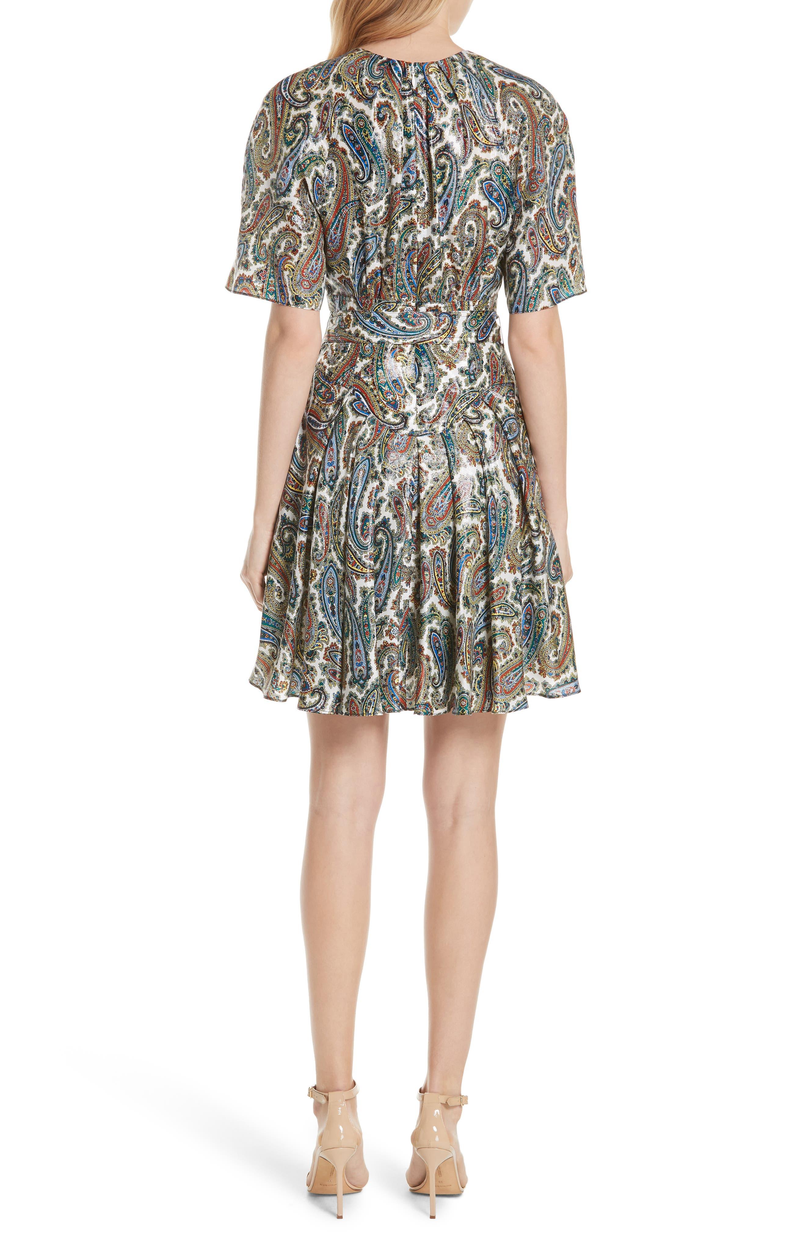 Belted Silk Blend Dress,                             Alternate thumbnail 2, color,                             Barton Logo Ivory