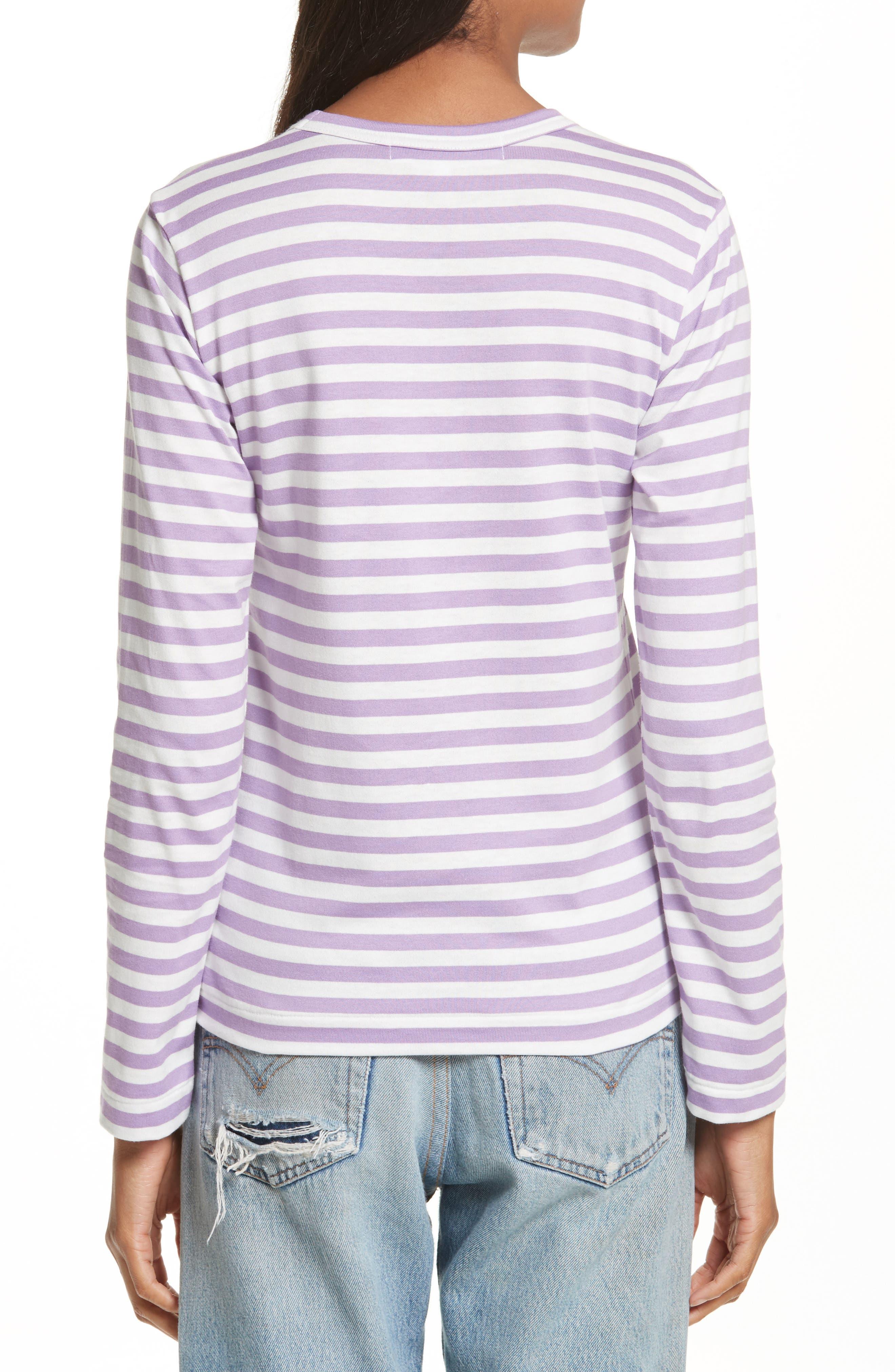 Comme des Garçons PLAY Stripe Tee,                             Alternate thumbnail 2, color,                             Purple