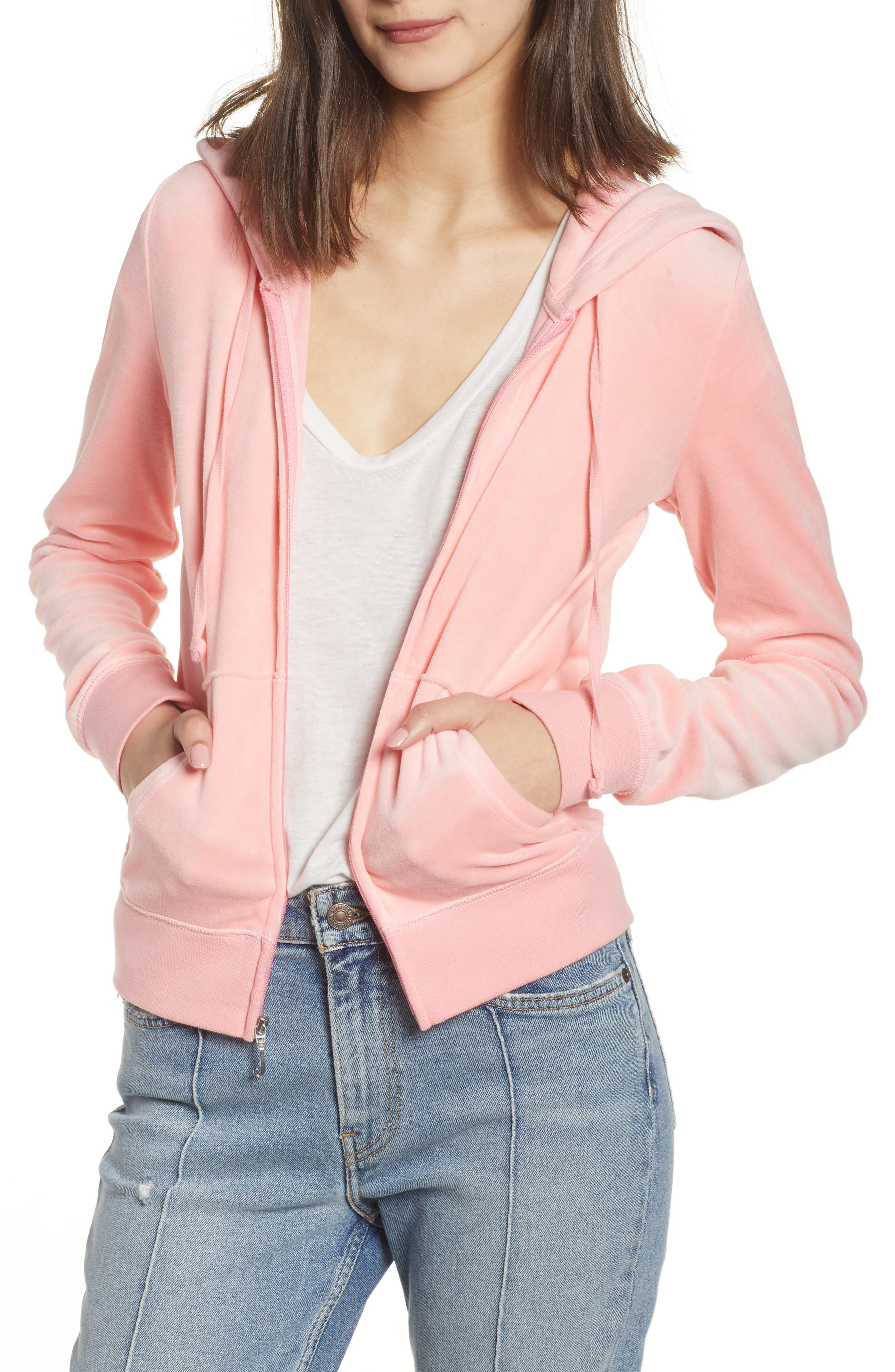 Robertson Velour Hoodie,                         Main,                         color, Sorbet Pink