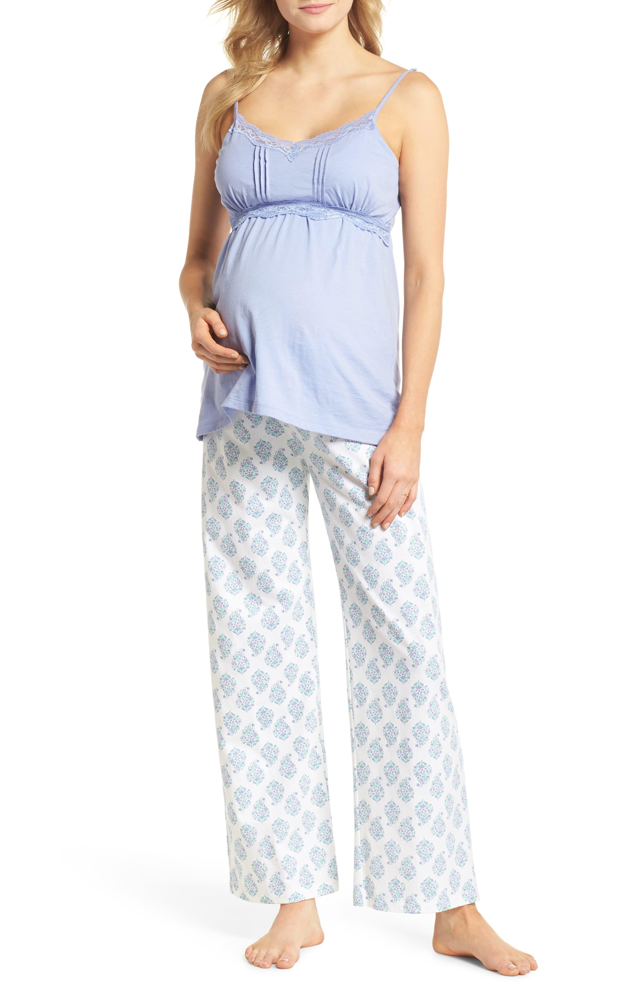 Violette Maternity/Nursing Pajamas,                             Main thumbnail 1, color,                             Indian Print