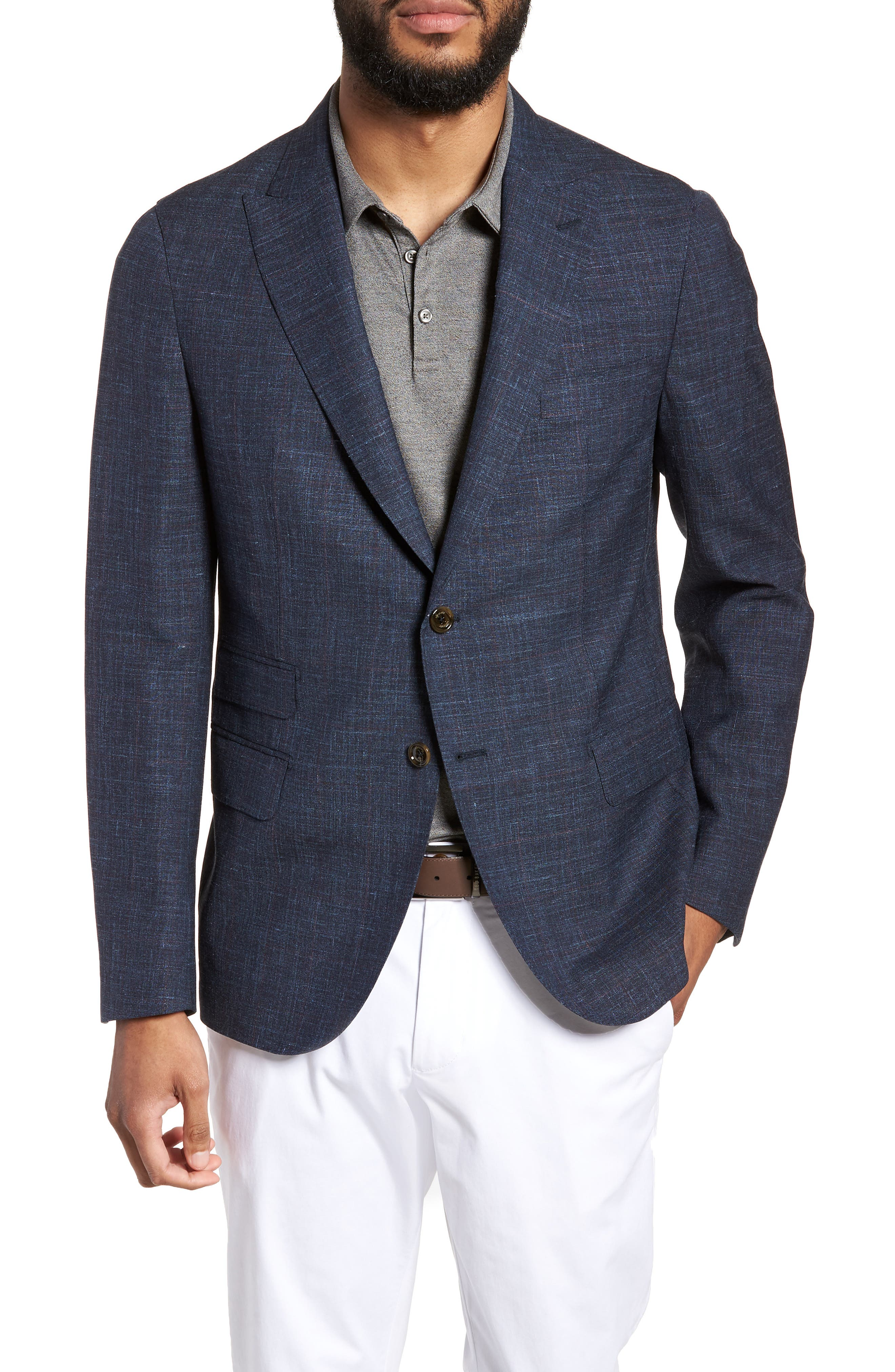 Trim Fit Wool Blend Blazer,                         Main,                         color, Denim Blue