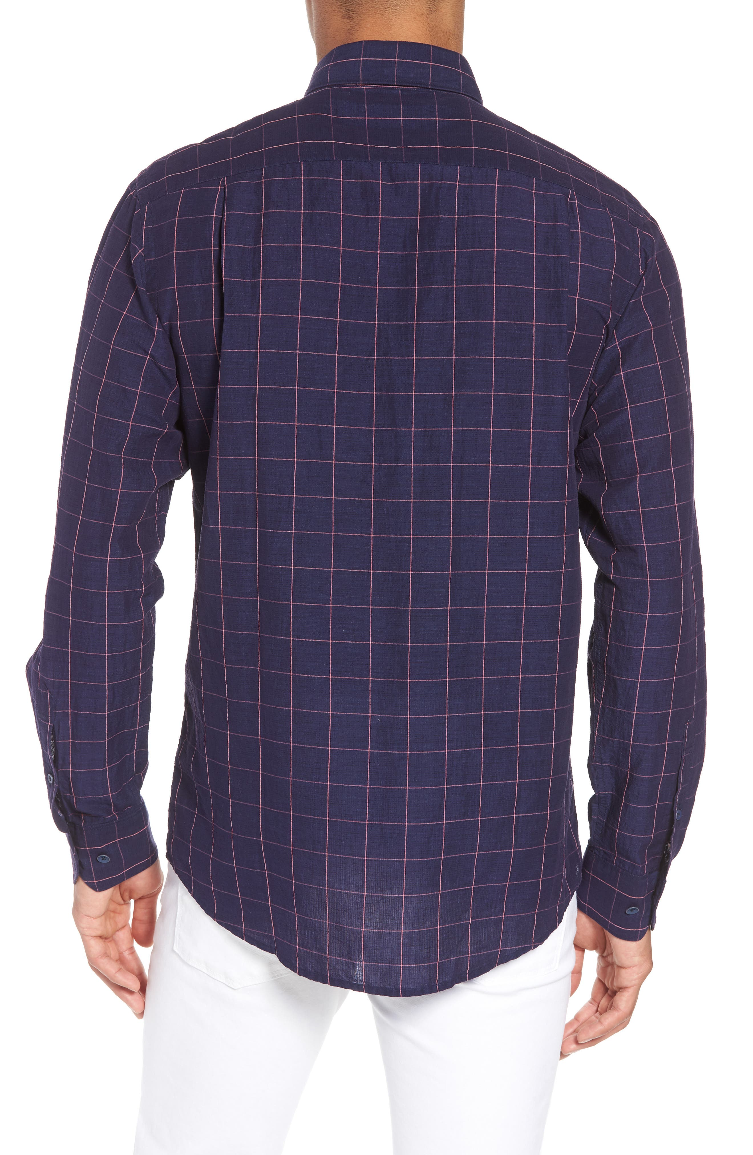 Tullarmore Windowpane Sport Shirt,                             Alternate thumbnail 3, color,                             Ink
