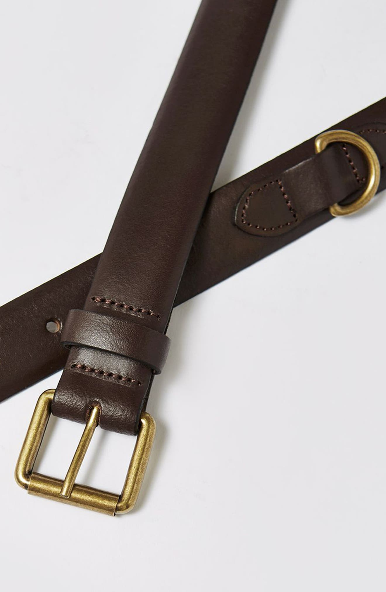 Leather Belt,                             Alternate thumbnail 2, color,                             Dark Brown