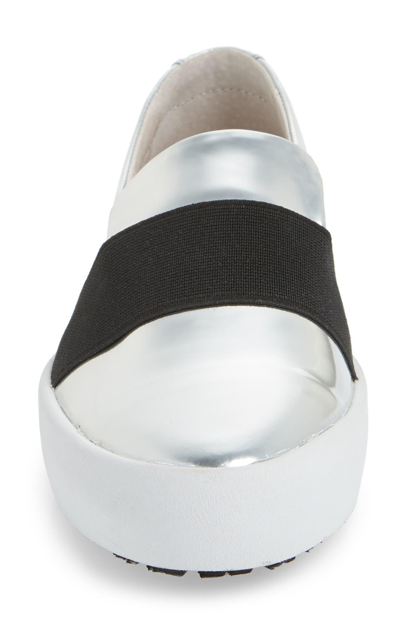 PL99 Slip-On Sneaker,                             Alternate thumbnail 4, color,                             Silver Leather