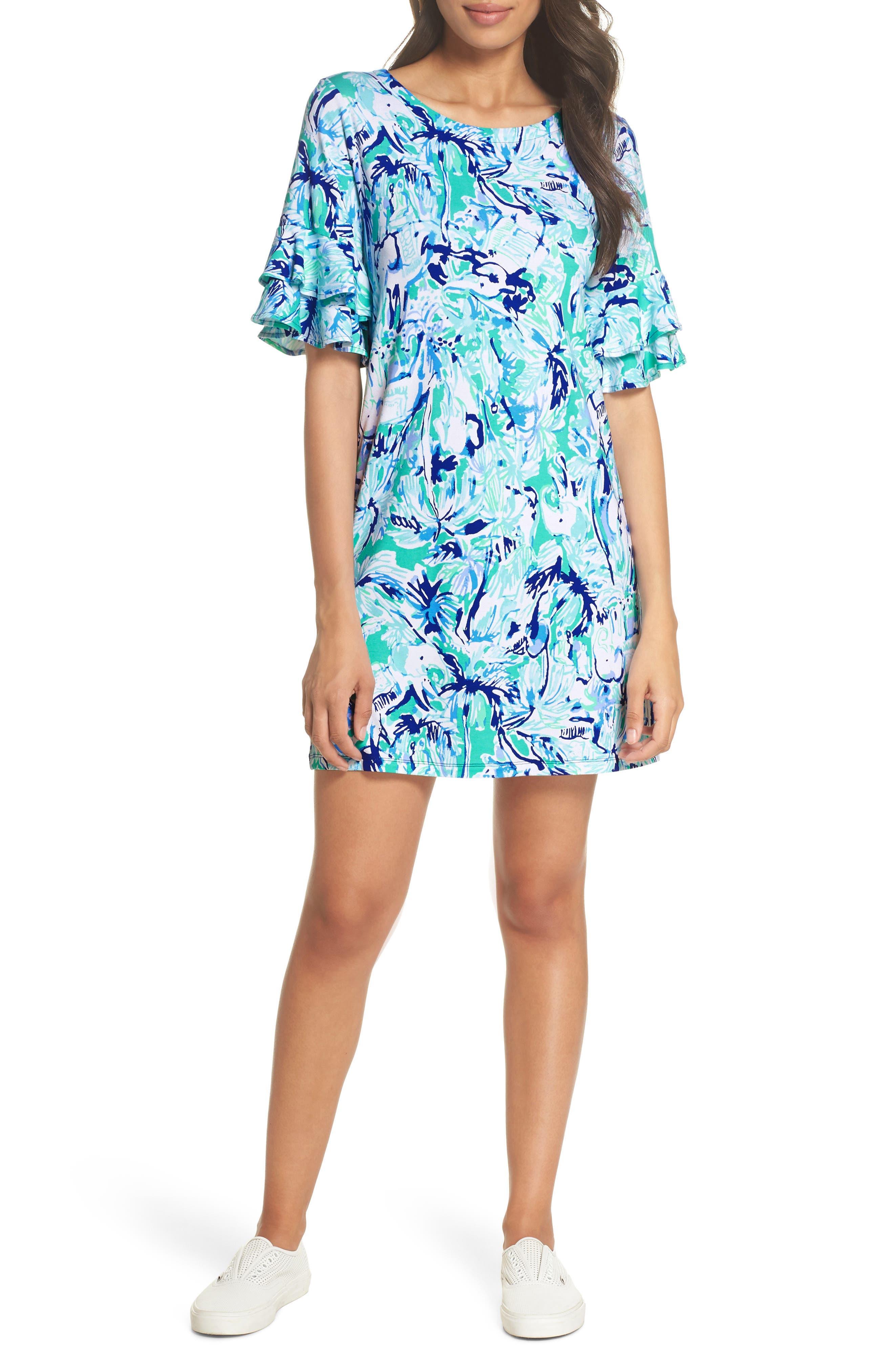 Lula Ruffle Sleeve Dress,                             Main thumbnail 1, color,                             Tropical Turquoise Elephant
