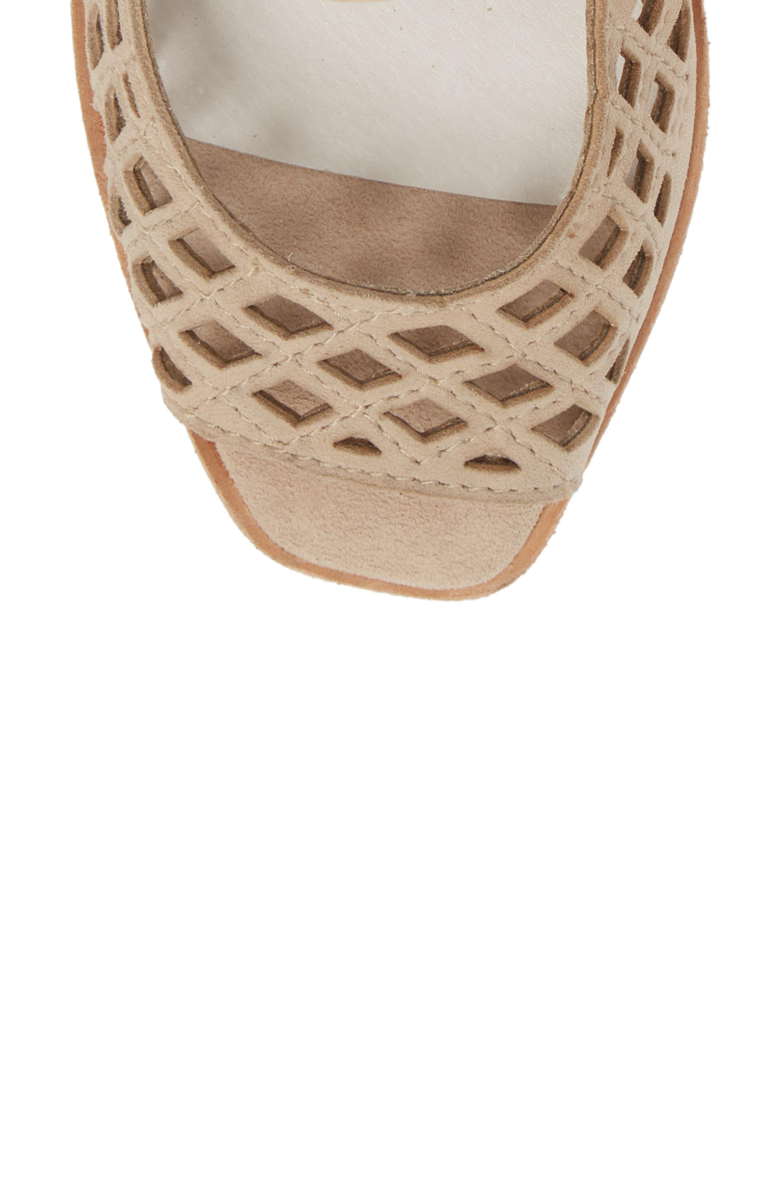 Cuadro-Hi Wedge Sandal,                             Alternate thumbnail 5, color,                             Beige Suede