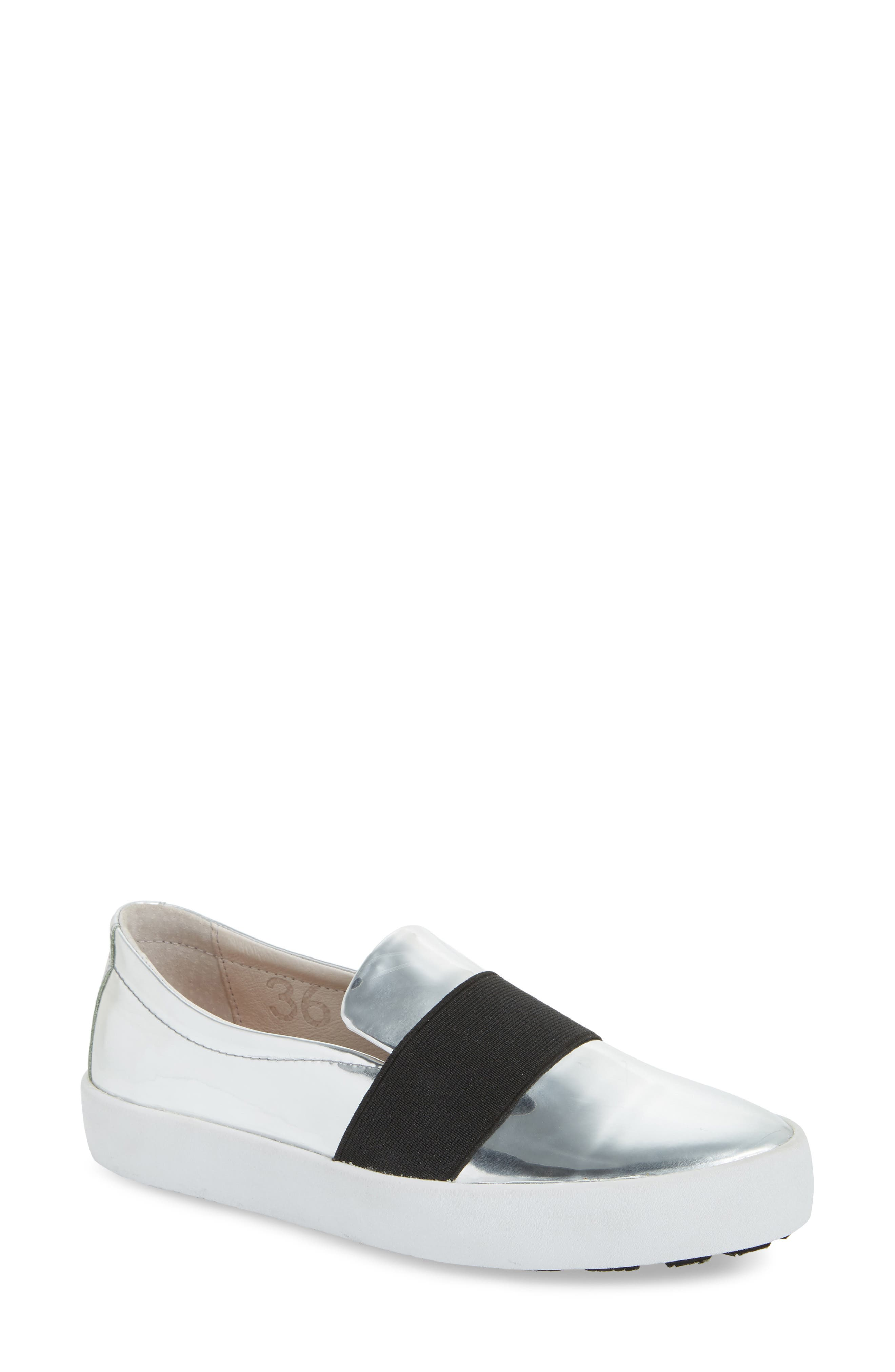 PL99 Slip-On Sneaker,                             Main thumbnail 1, color,                             Silver Leather