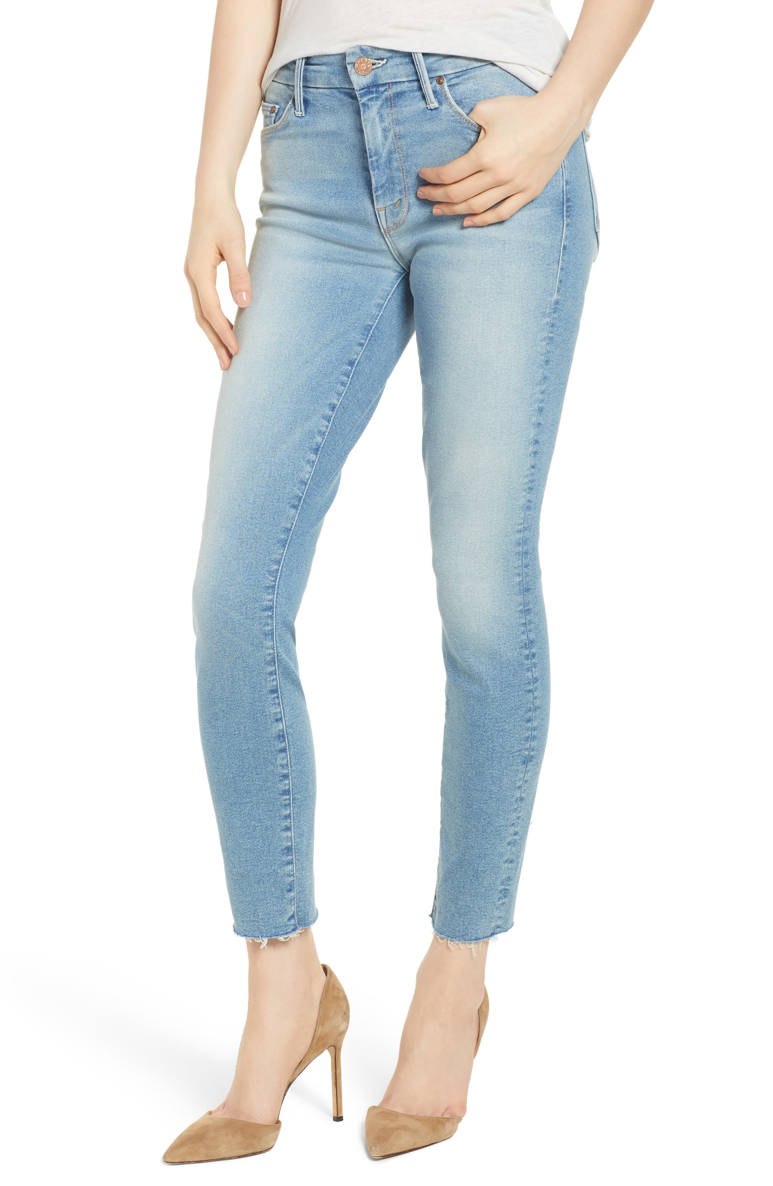 MOTHER The Looker Fray Ankle Skinny Jeans (Ready to Roll)