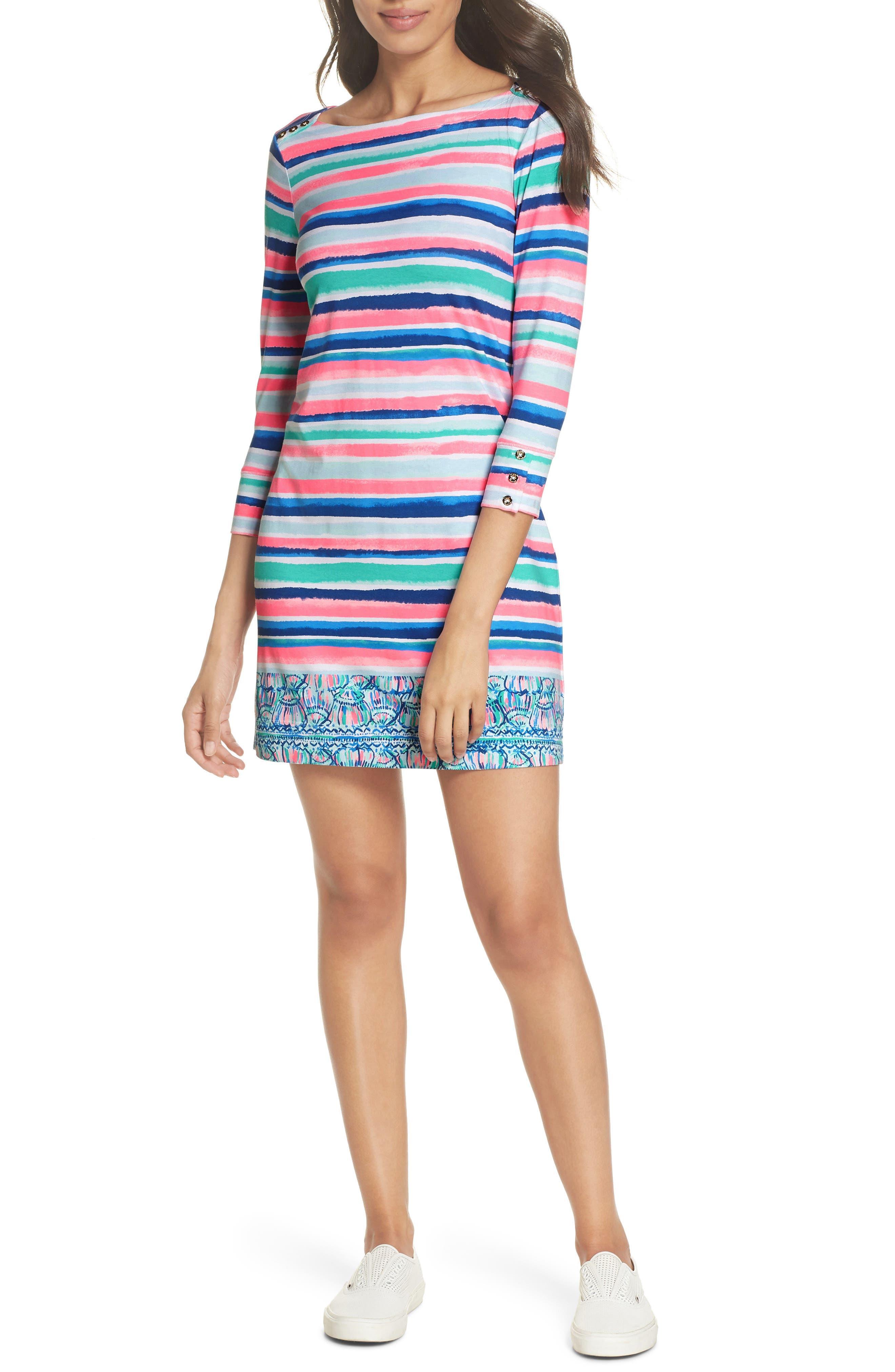 Sophie UPF 50+ Dress,                             Main thumbnail 1, color,                             Multi Sandy Shell Stripe