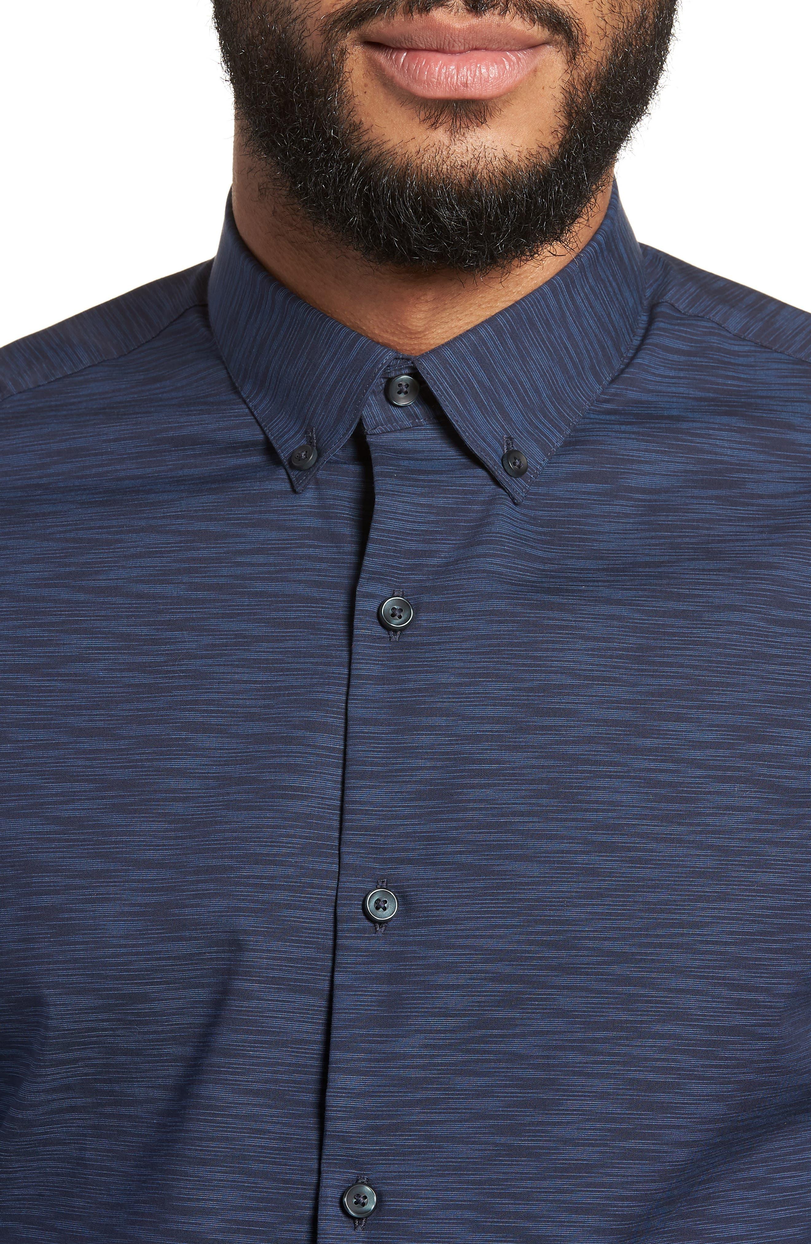 Trim Fit Solid Sport Shirt,                             Alternate thumbnail 4, color,                             Navy Blue Space Dye