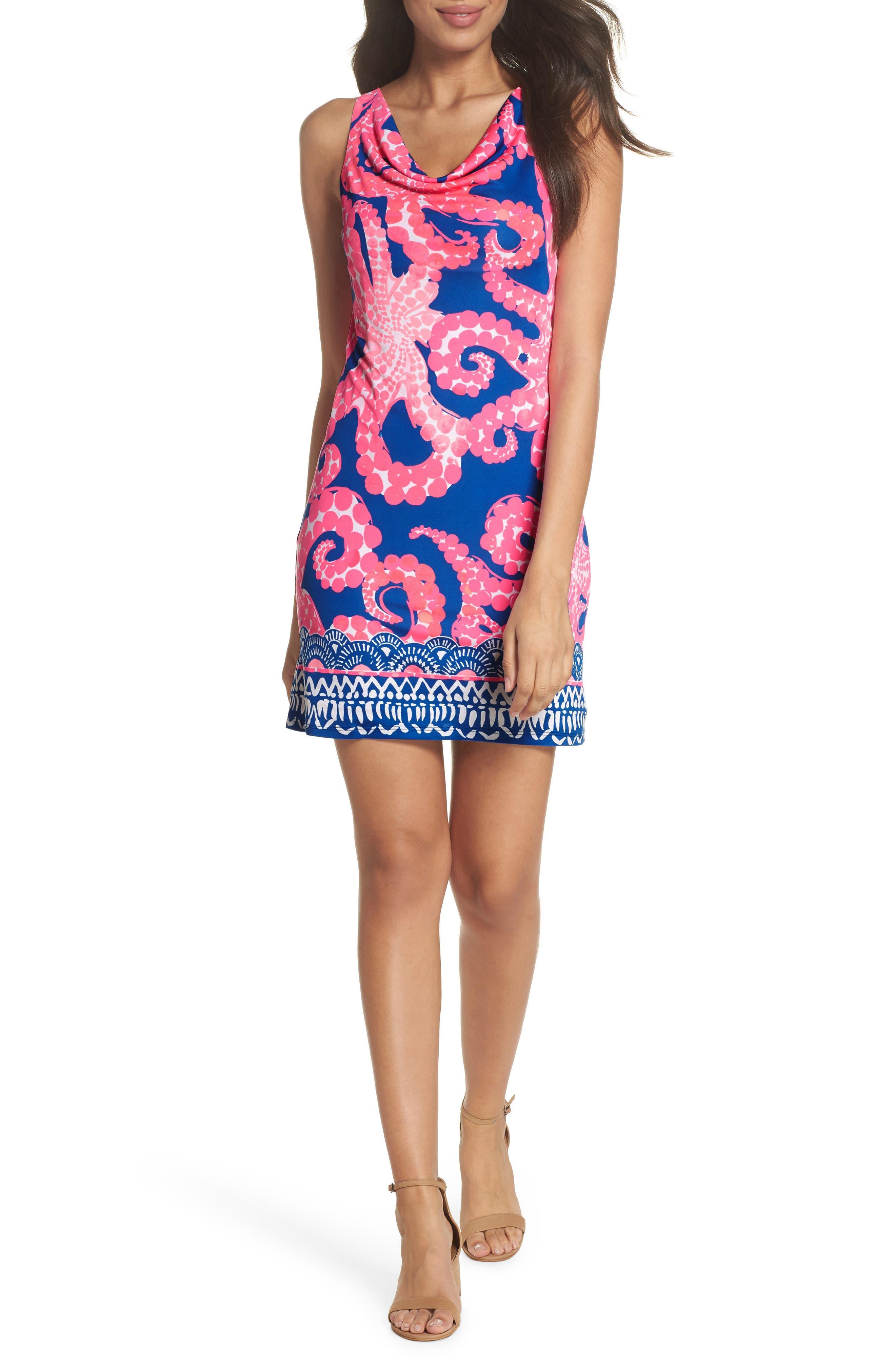 Kyra Silk Shift Dress,                         Main,                         color, Ikat Blue Mocean