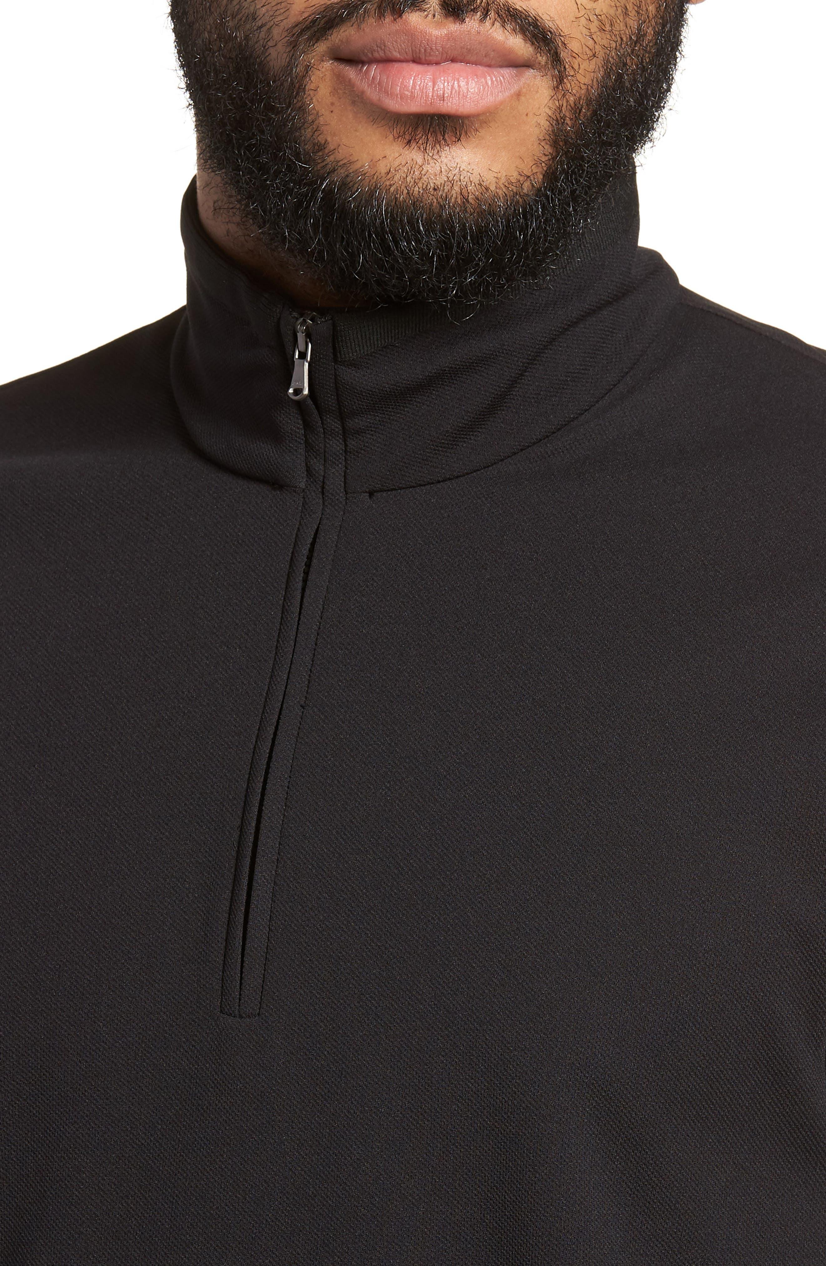 Performance Quarter Zip Pullover,                             Alternate thumbnail 4, color,                             Black/ Black