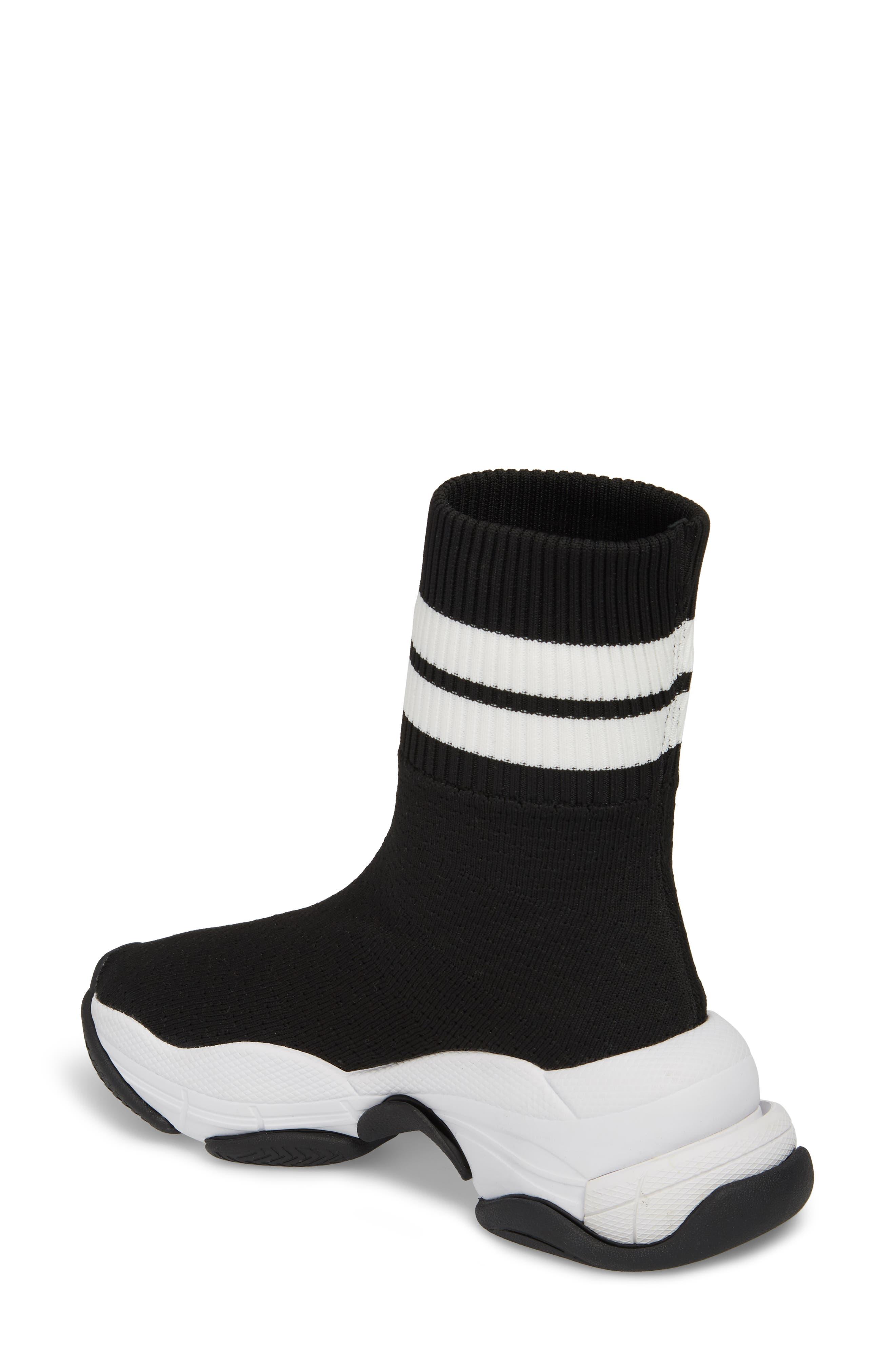 Tenko Ankle High Top Sock Sneaker,                             Alternate thumbnail 2, color,                             Black/ White Stripe Fabric
