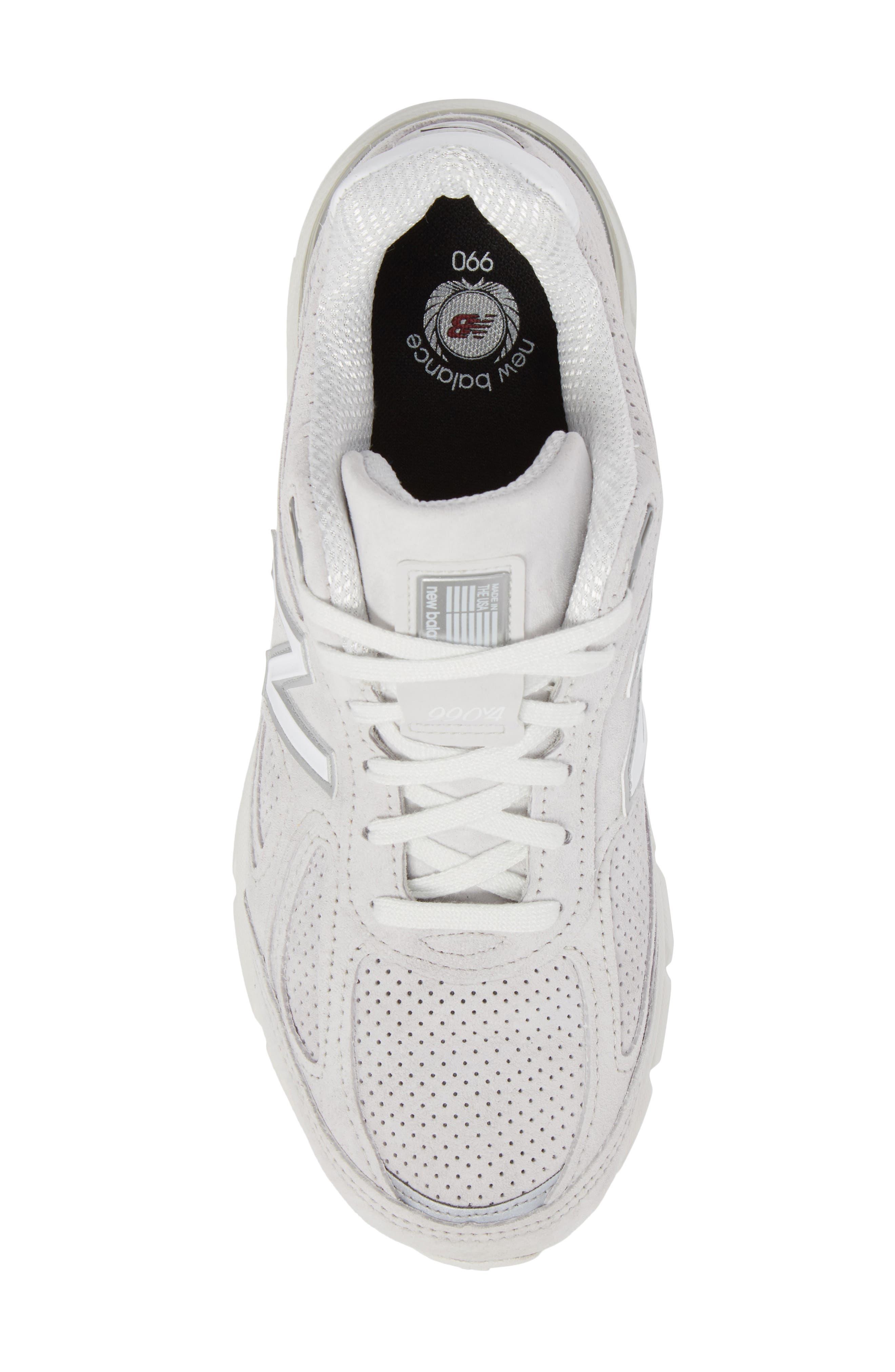 990v4 Perforated Sneaker,                             Alternate thumbnail 5, color,                             Arctic Fox