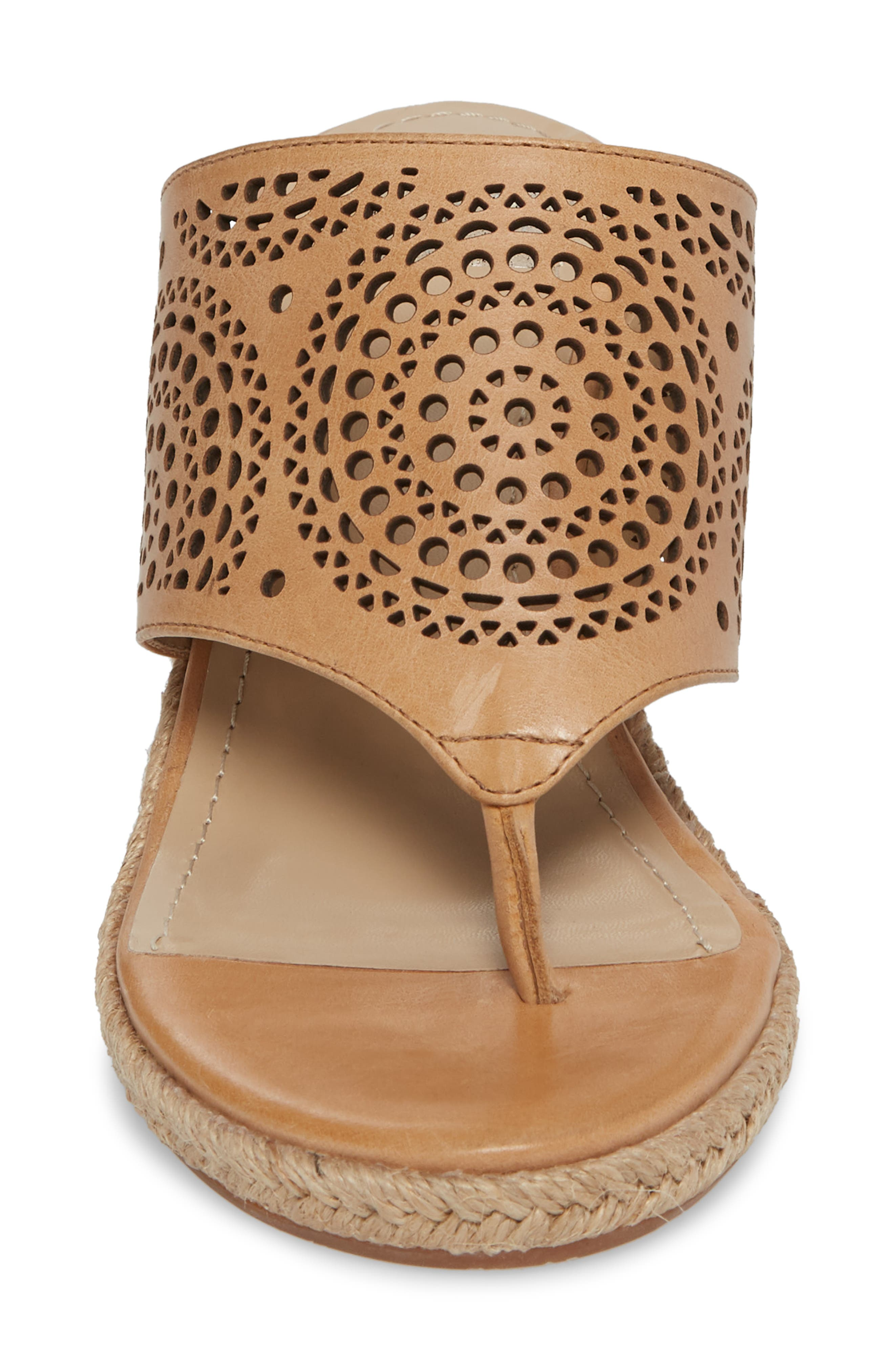 Gina Wedge Sandal,                             Alternate thumbnail 4, color,                             Tan Leather