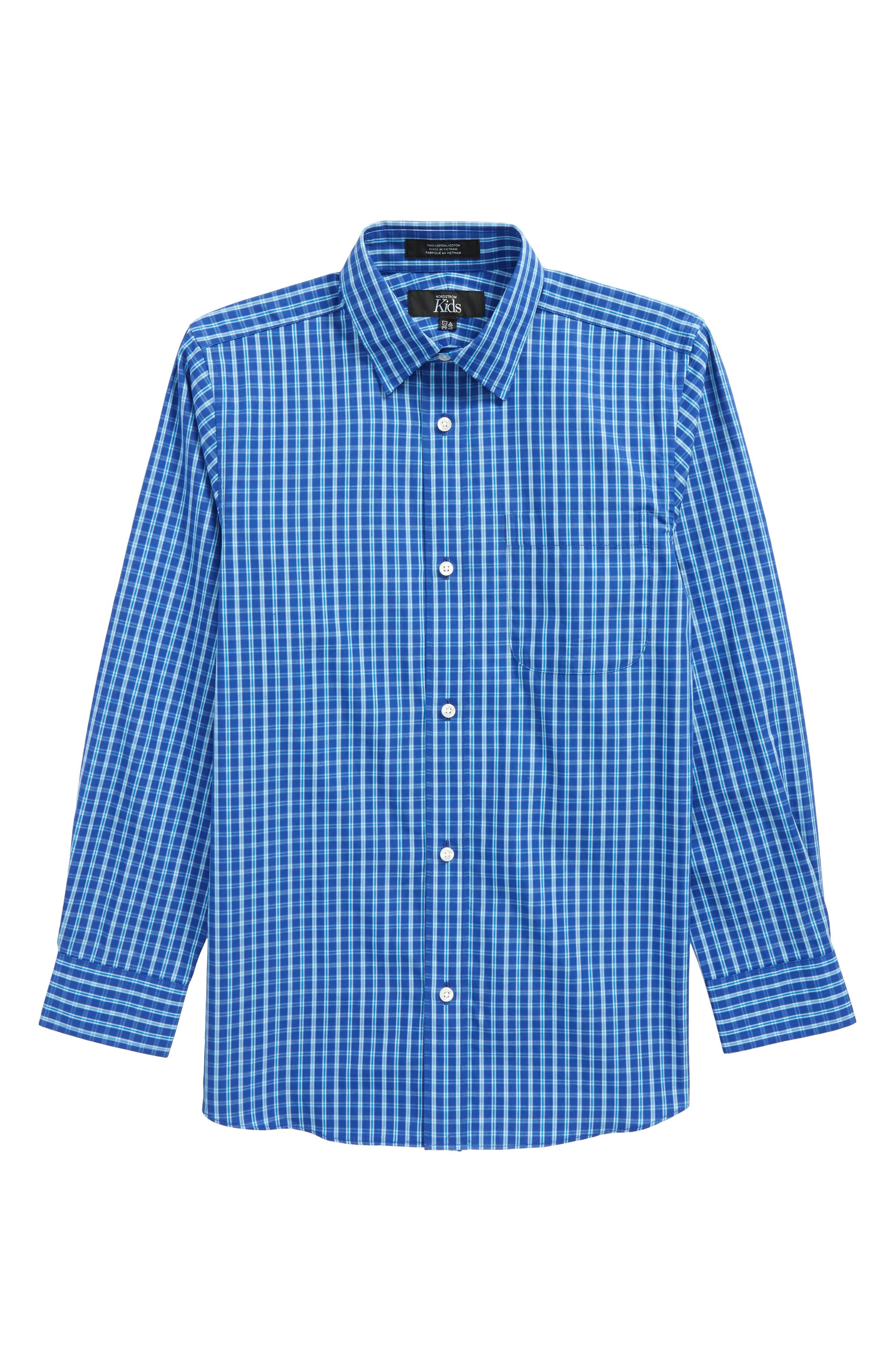 Plaid Dress Shirt,                             Main thumbnail 1, color,                             Blue Marine Plaid