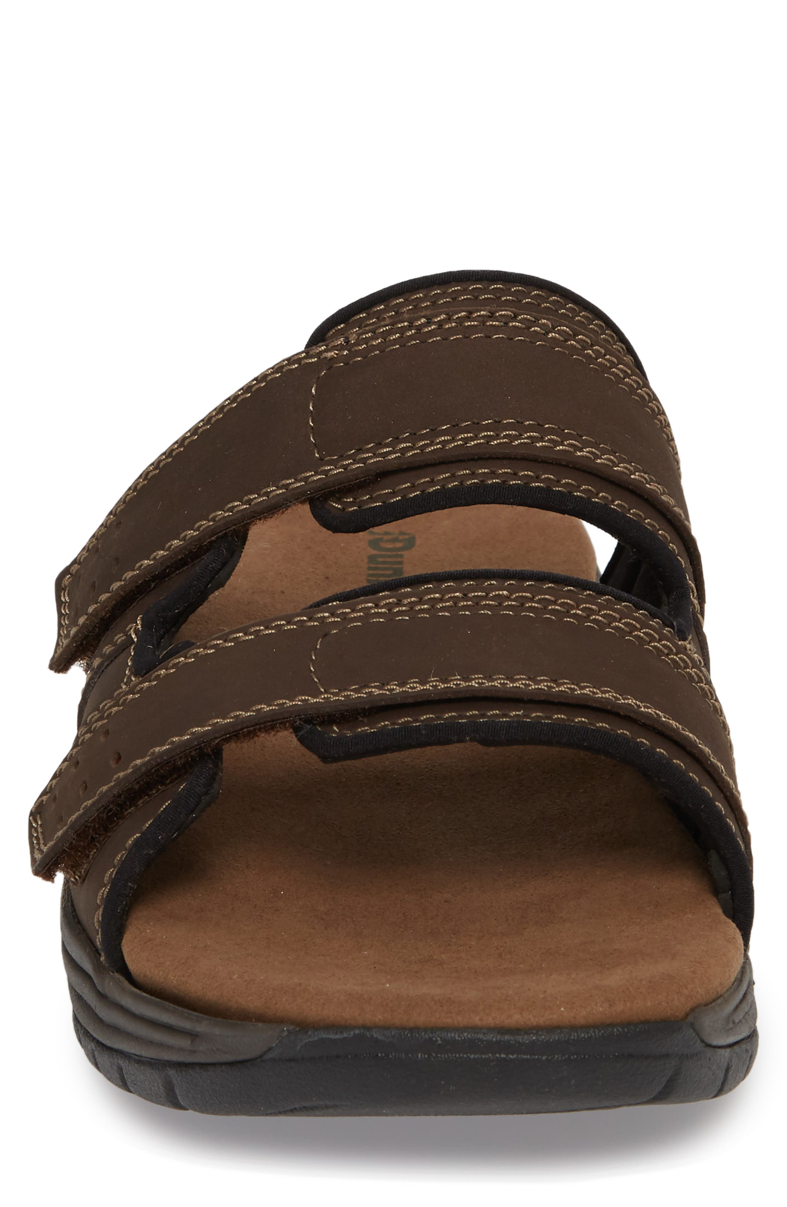 Newport Slide Sandal,                             Alternate thumbnail 4, color,                             Dark Brown Leather