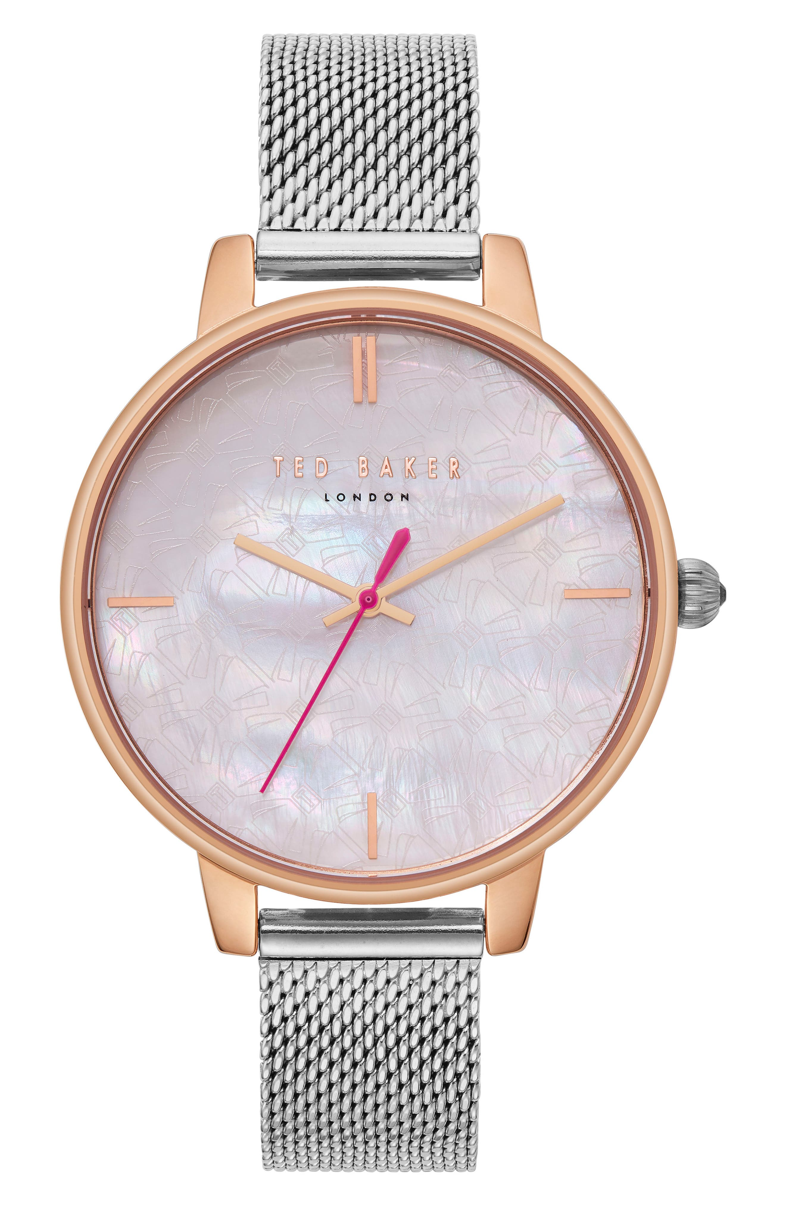 Kate Mesh Strap Watch, 38mm,                         Main,                         color, Silver/ Mop/ Rose Gold