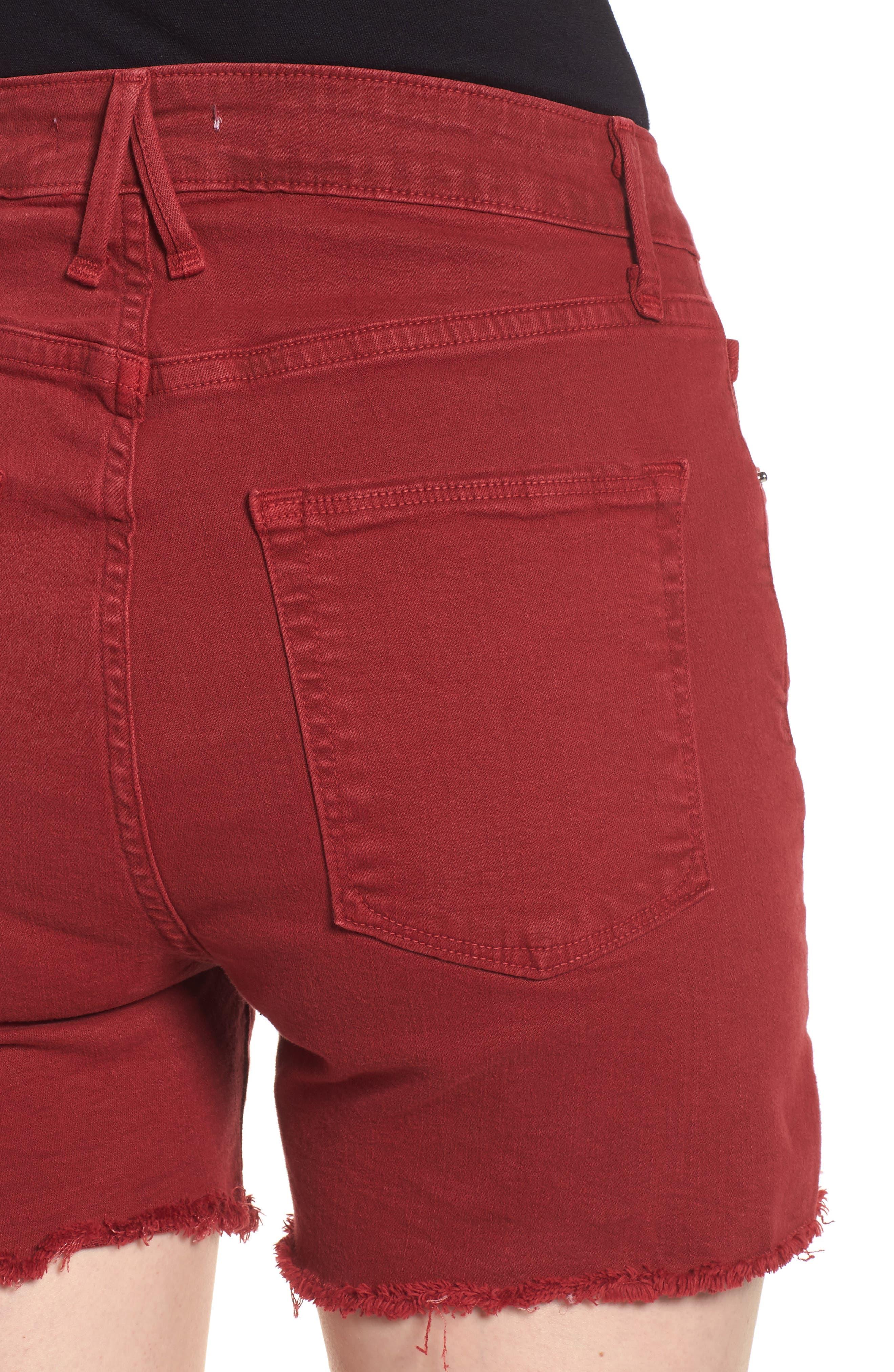High Waist Cutoff Shorts,                             Alternate thumbnail 6, color,                             Red