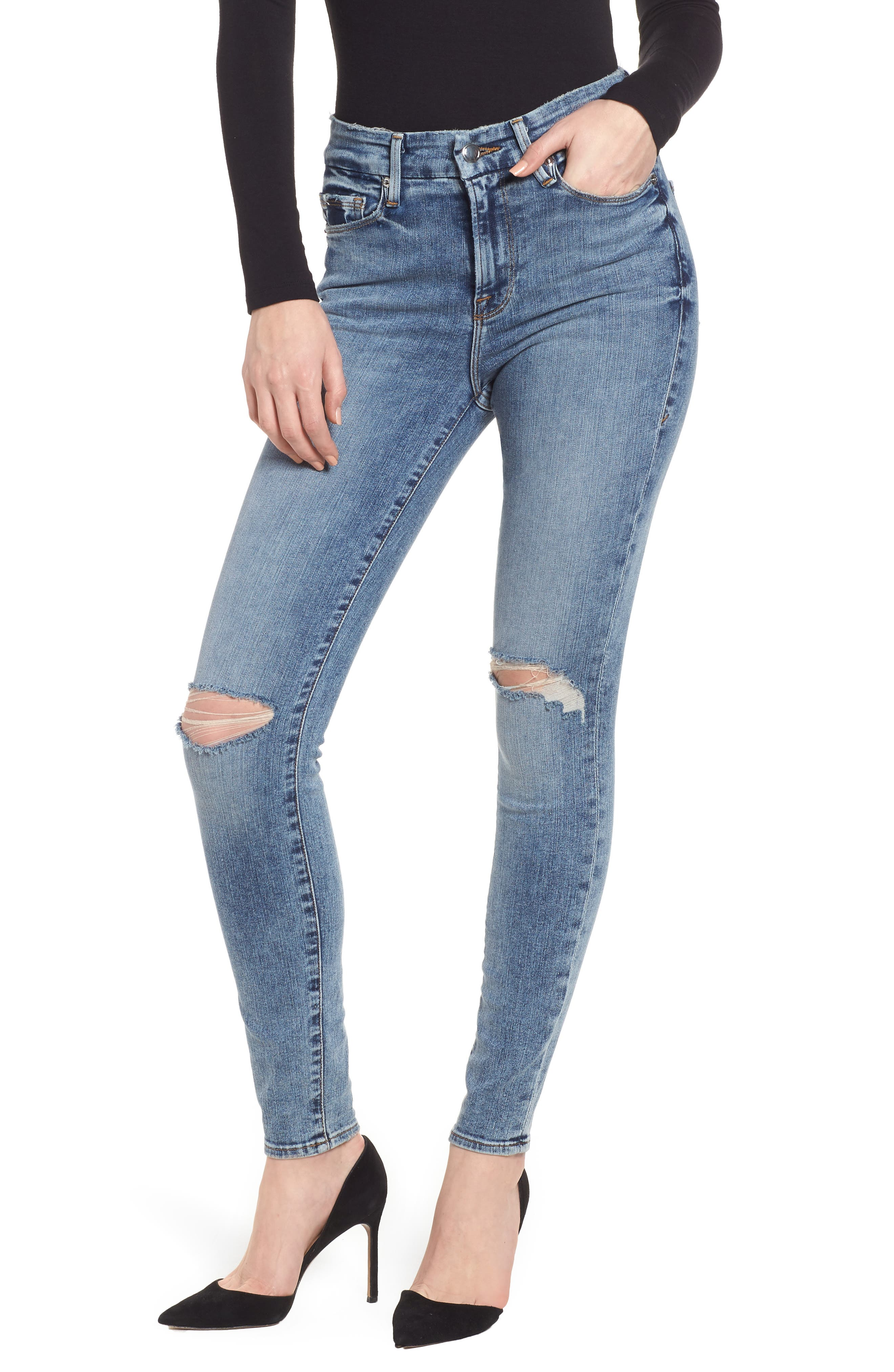 Good Legs Ripped High Waist Skinny Jeans,                             Main thumbnail 1, color,                             Blue129