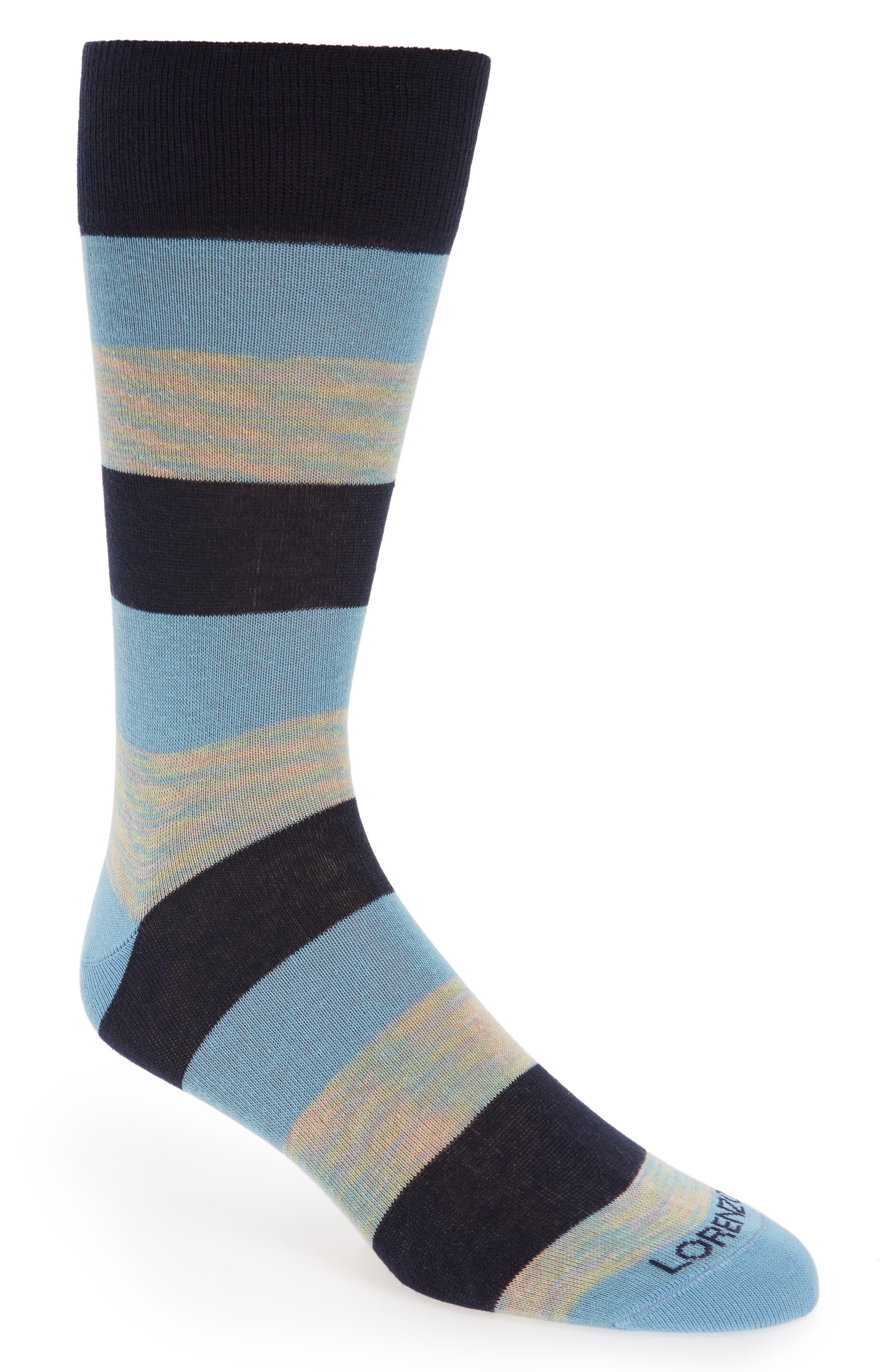 Rugby Stripe Socks,                         Main,                         color, Light Blue