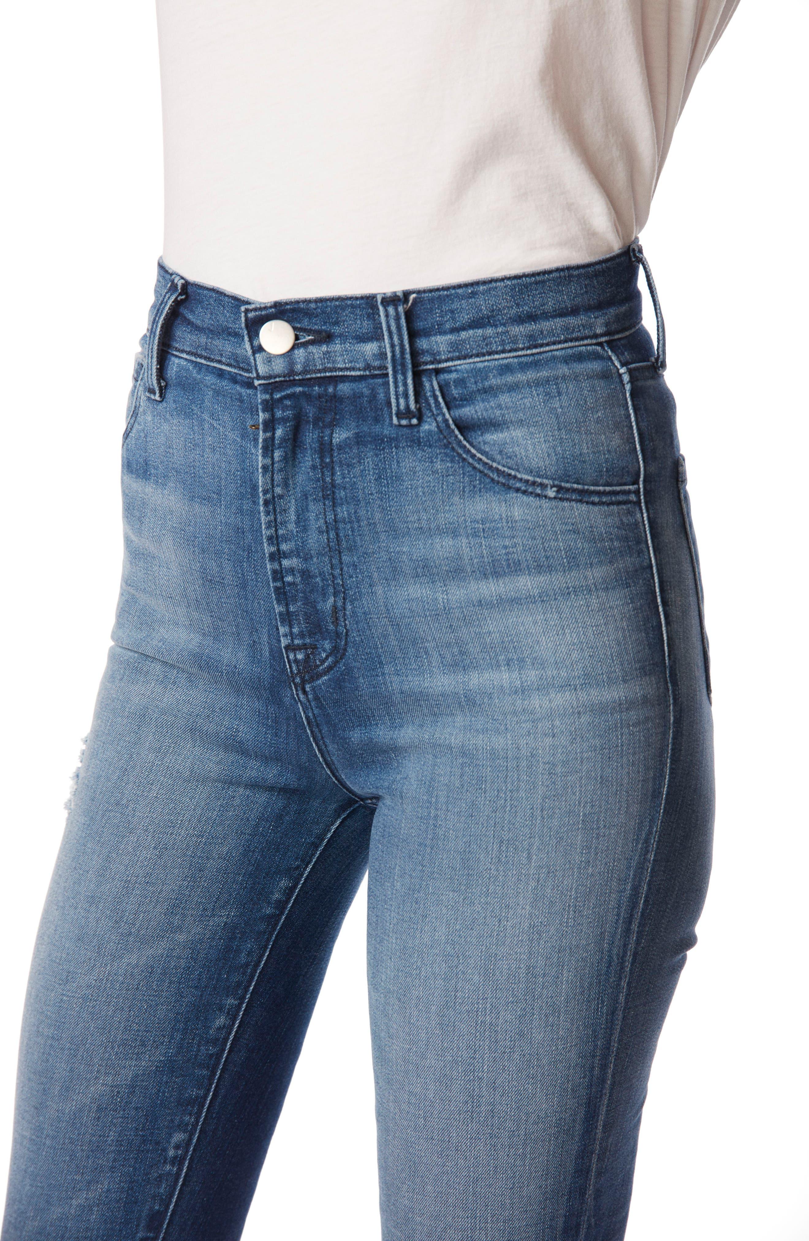 Carolina Super High Waist Skinny Jeans,                             Alternate thumbnail 4, color,                             Mystic