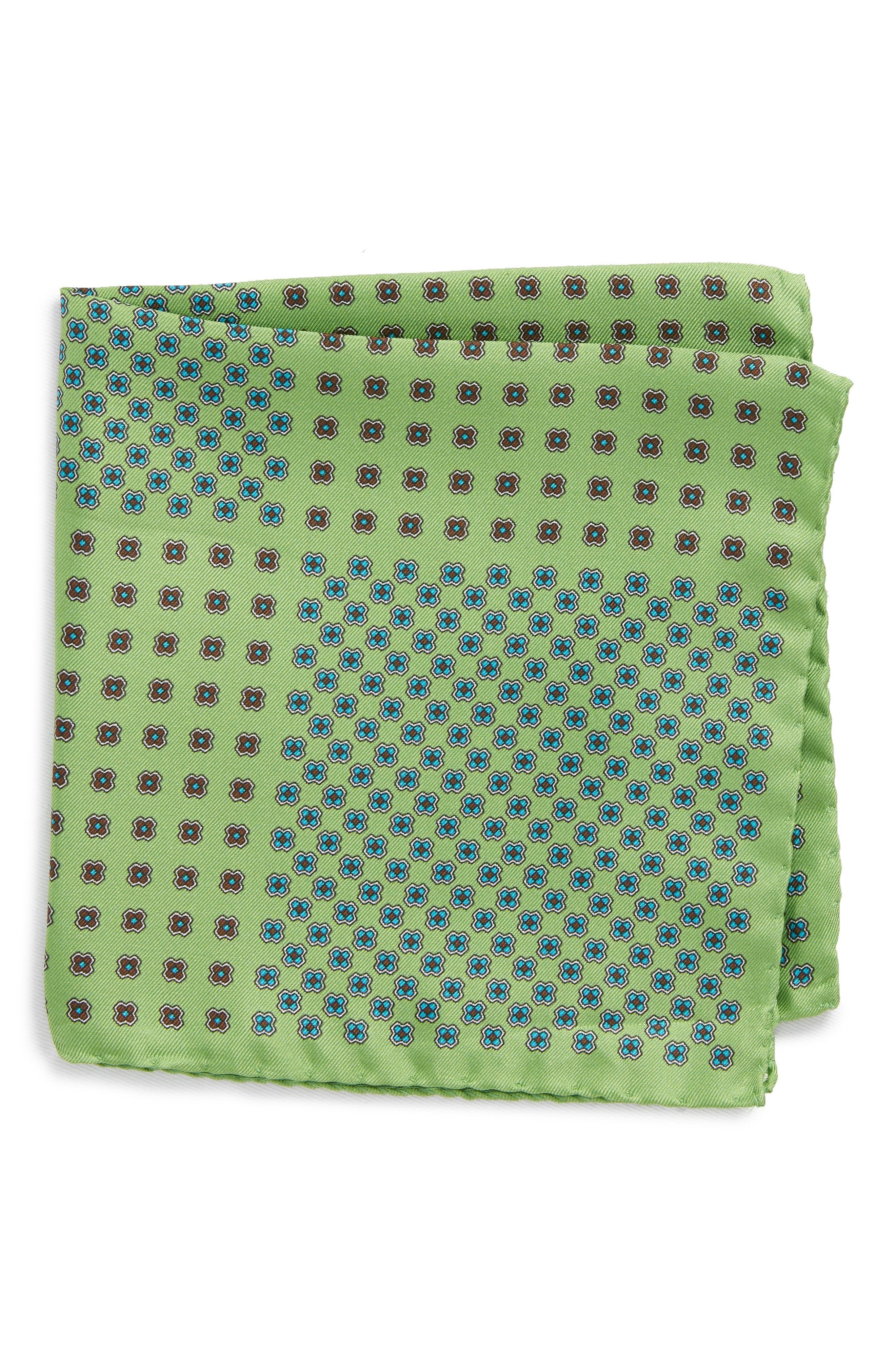 Medallion Silk Pocket Square,                             Main thumbnail 1, color,                             Green