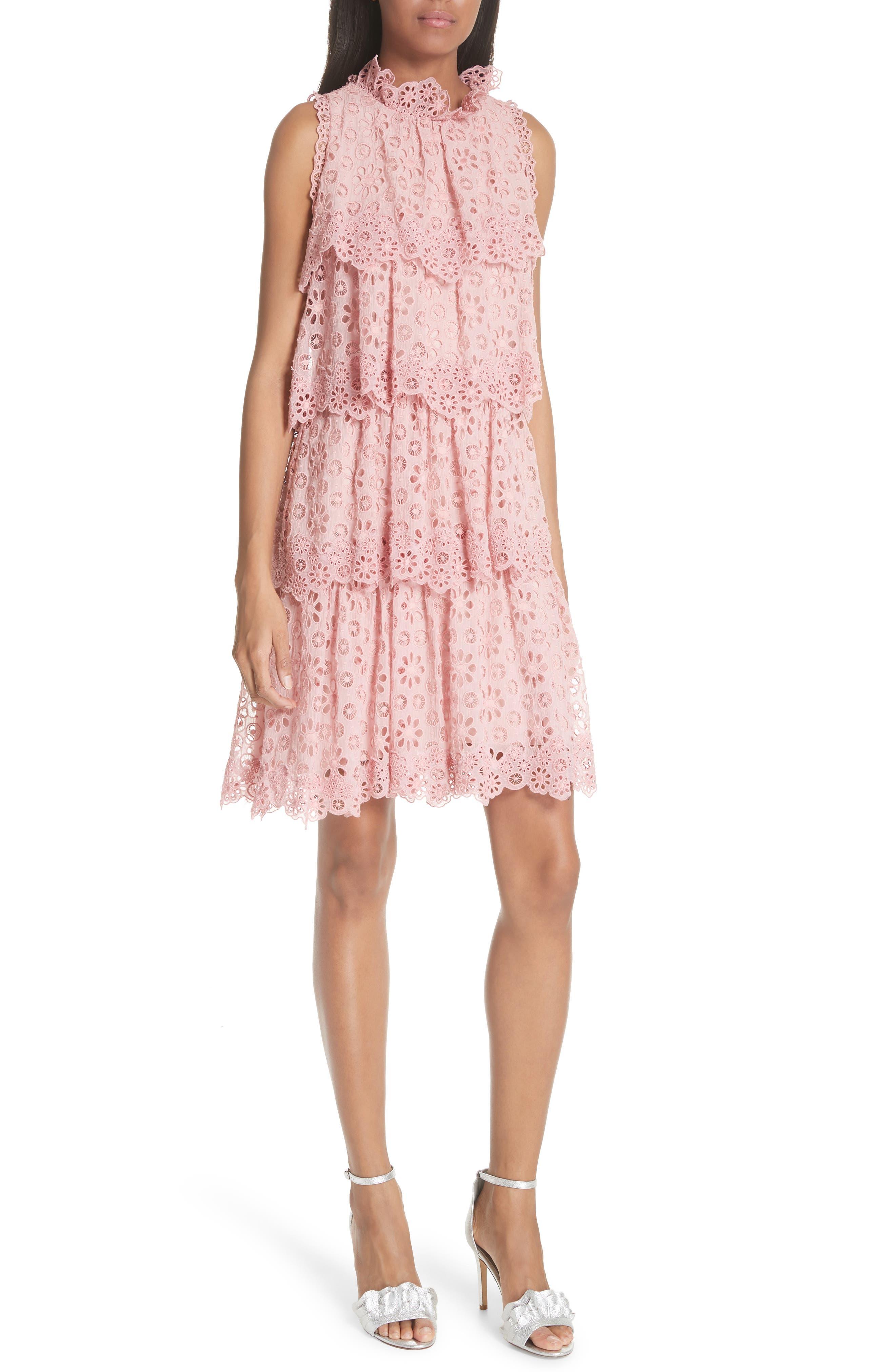 Sleeveless Pinwheel Dress,                             Main thumbnail 1, color,                             Peony