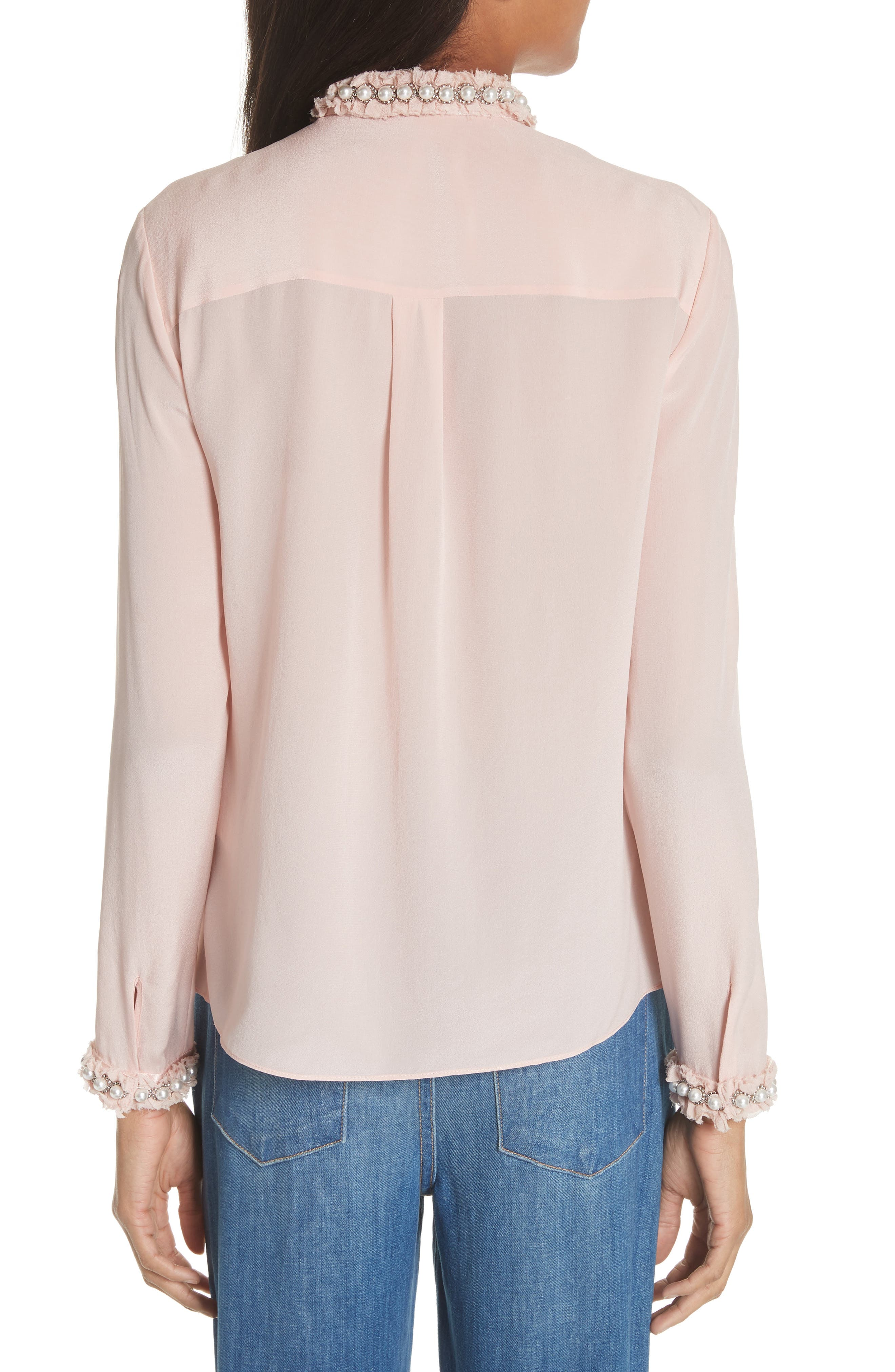 Bejeweled Button Down Silk Top,                             Alternate thumbnail 2, color,                             Blush