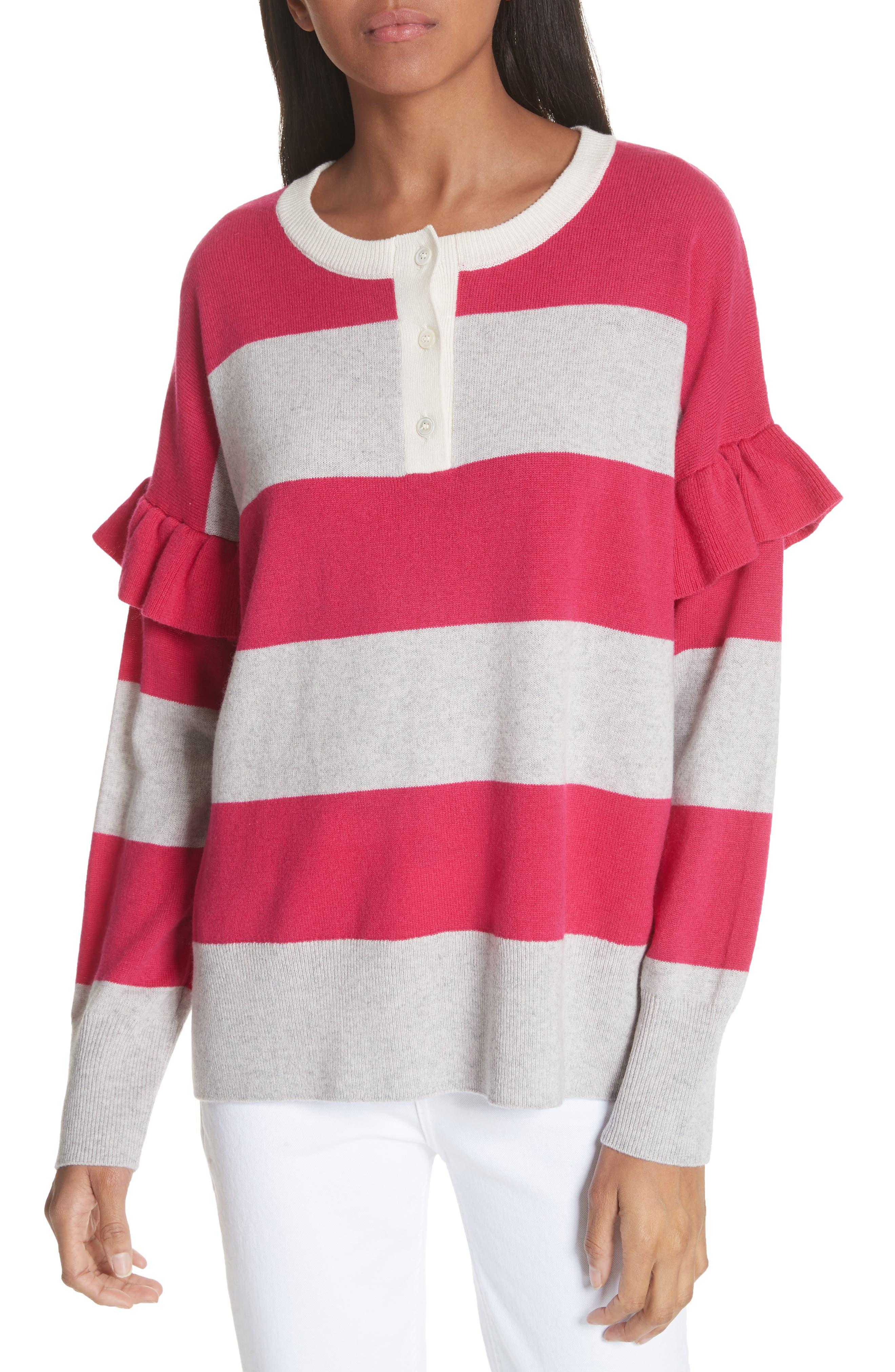 Inghin Stripe Wool & Cashmere Sweater,                             Main thumbnail 1, color,                             Hacienda/ Heather Grey