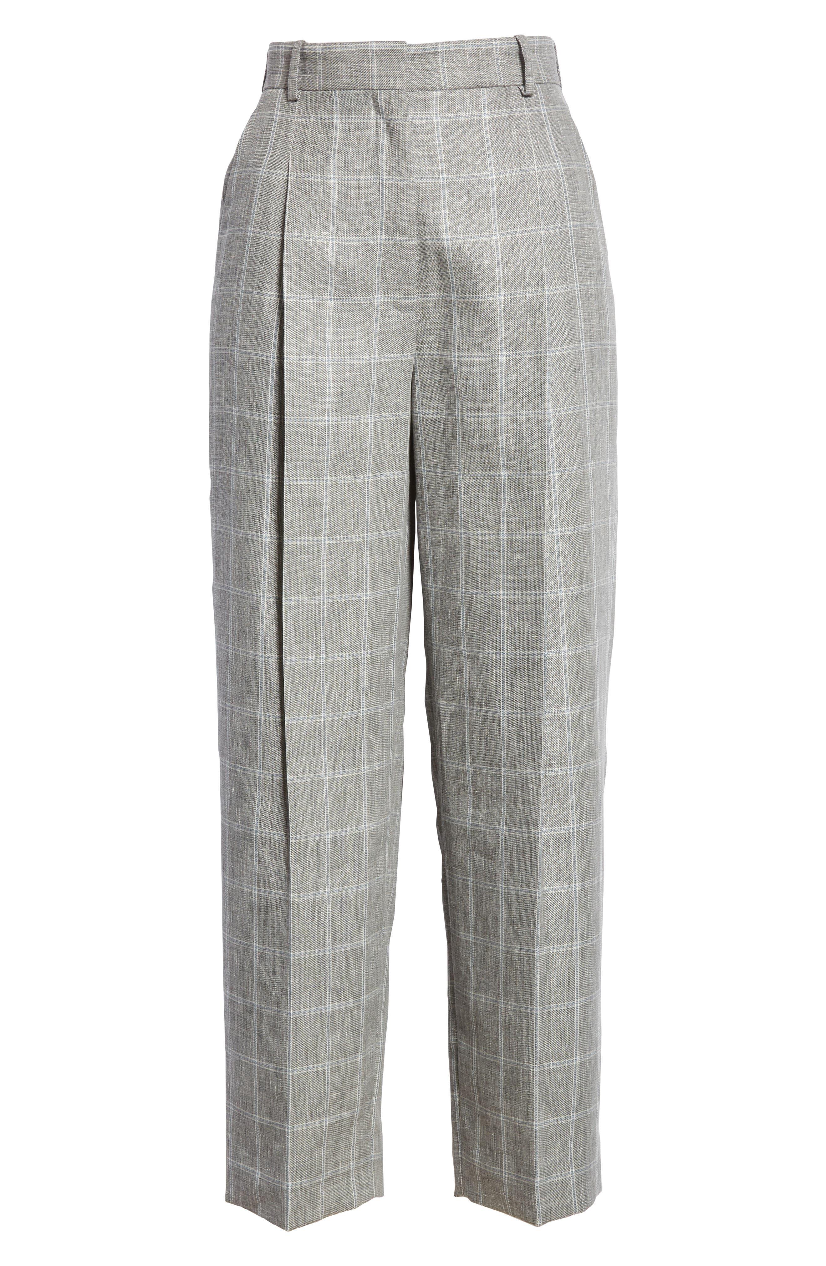 Check Wide Leg Crop Pants,                             Alternate thumbnail 6, color,                             Gris