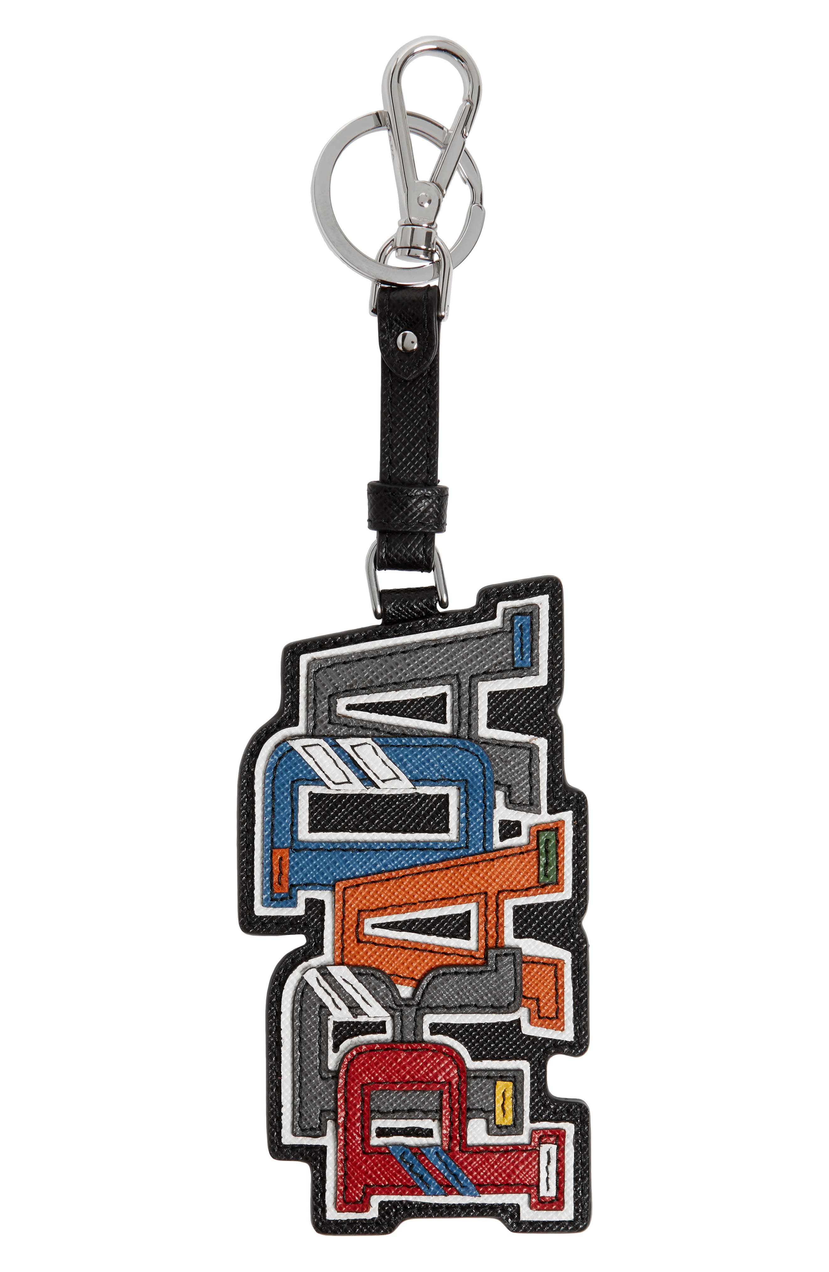 Saffiano Leather Character Key Chain,                             Main thumbnail 1, color,                             F0sgi Nero M