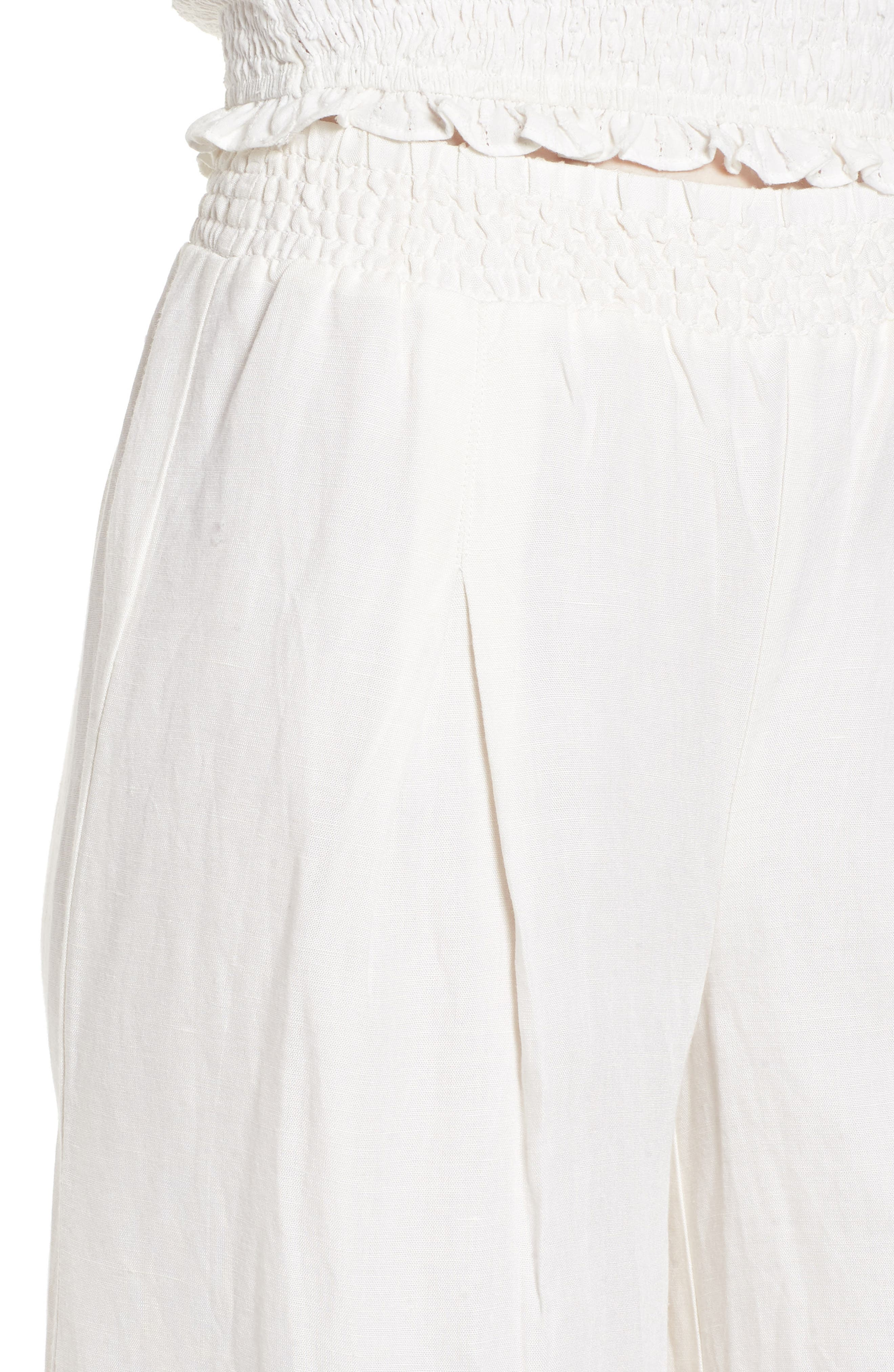 High Roads Smocked Wide Leg Pants,                             Alternate thumbnail 4, color,                             Cool Whip