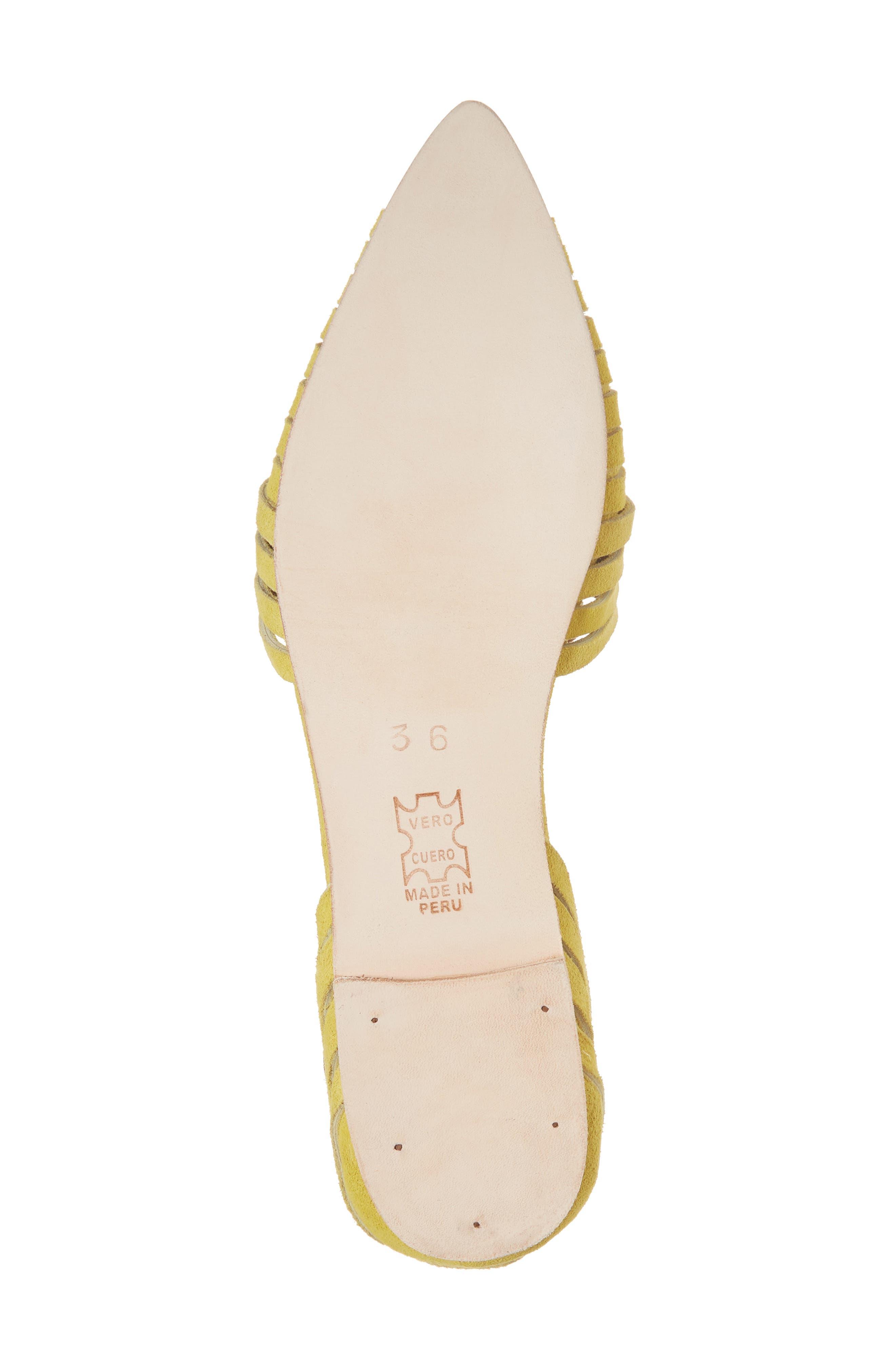 Hollis Huarache Ankle Tie Flat,                             Alternate thumbnail 6, color,                             Citron Suede
