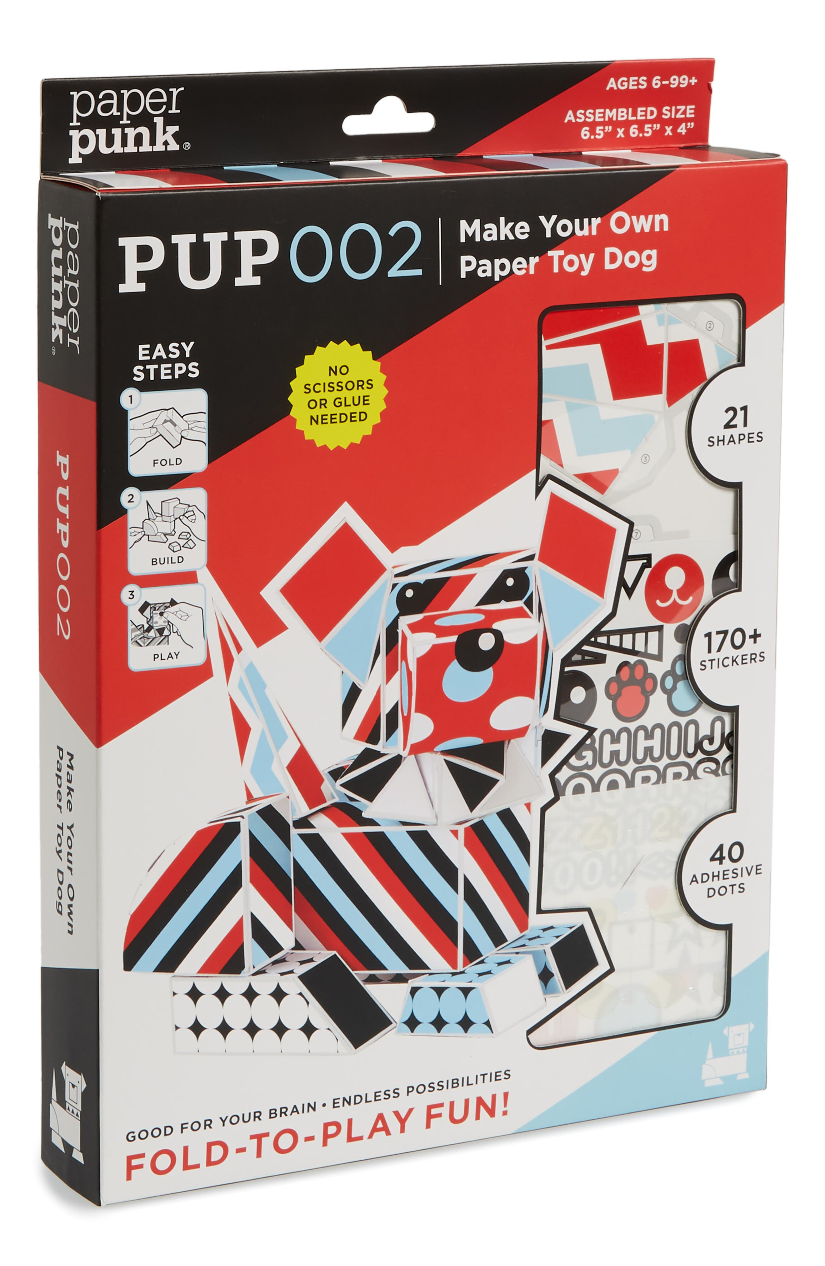 Pup002 Make Your Own Paper Toy Dog Kit,                         Main,                         color, Multi