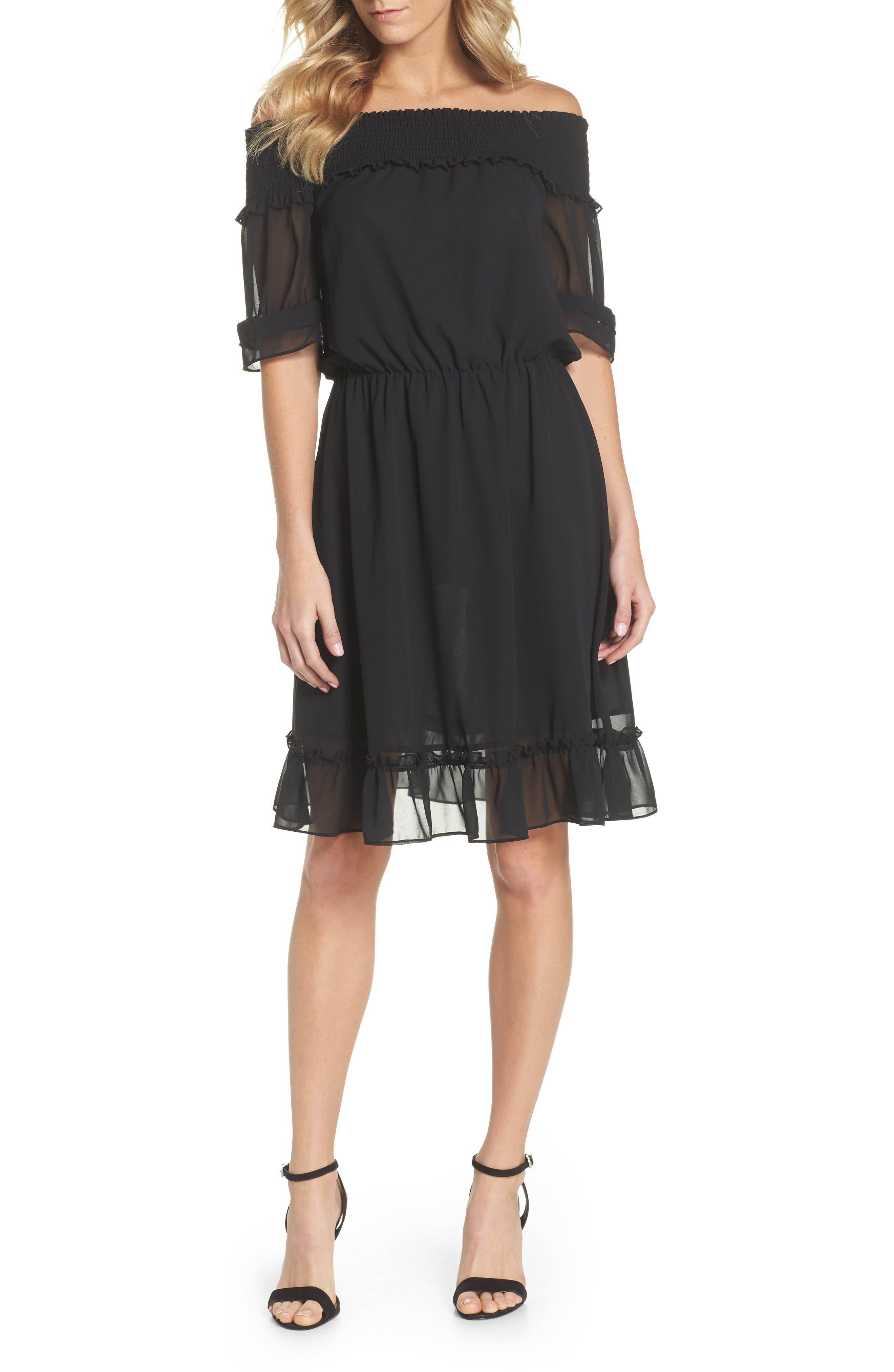 Off The Shoulder Ruffle Hem Dress,                         Main,                         color, Black